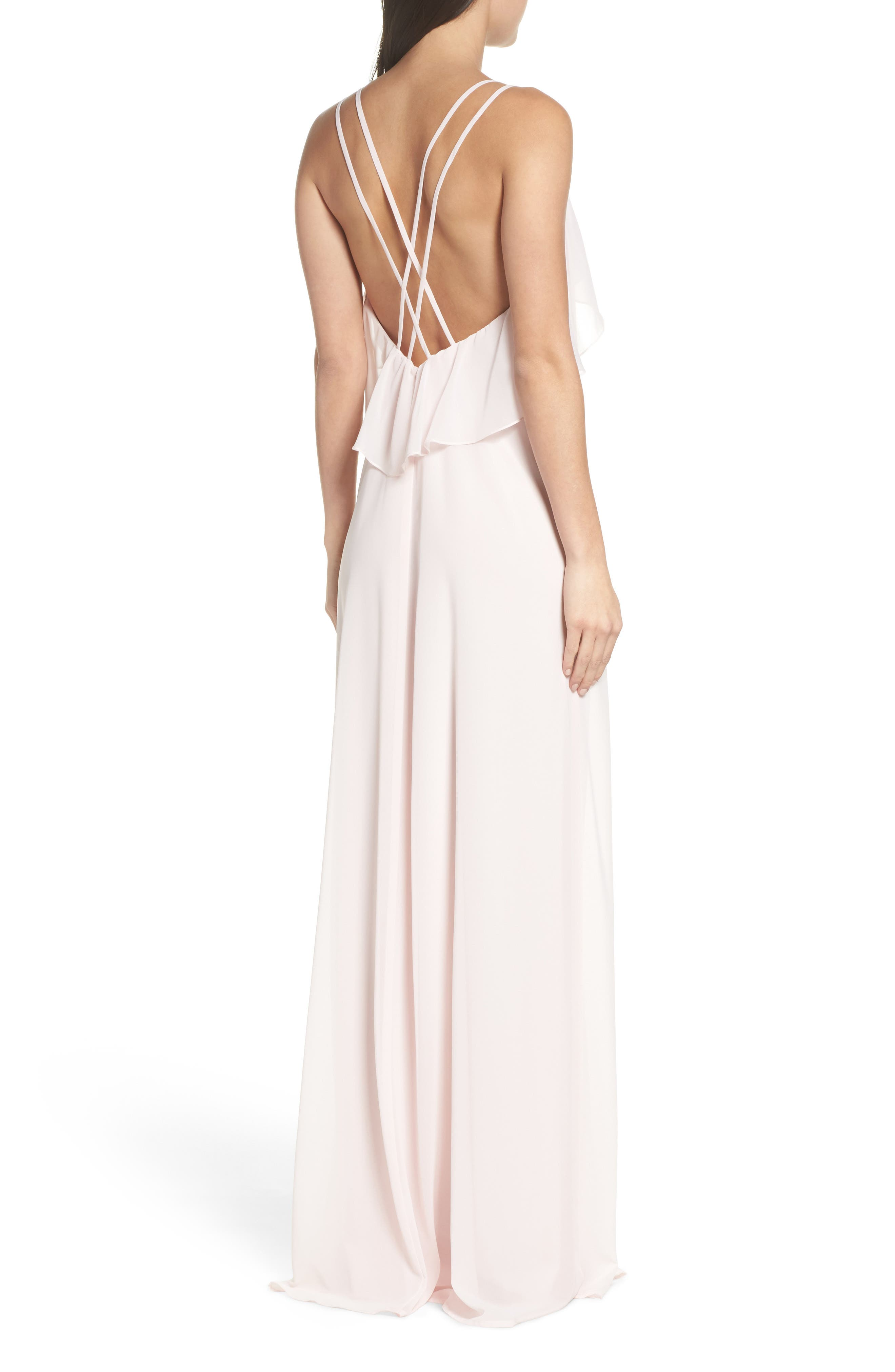 Avery Strappy Ruffle V-Neck Gown,                             Alternate thumbnail 4, color,