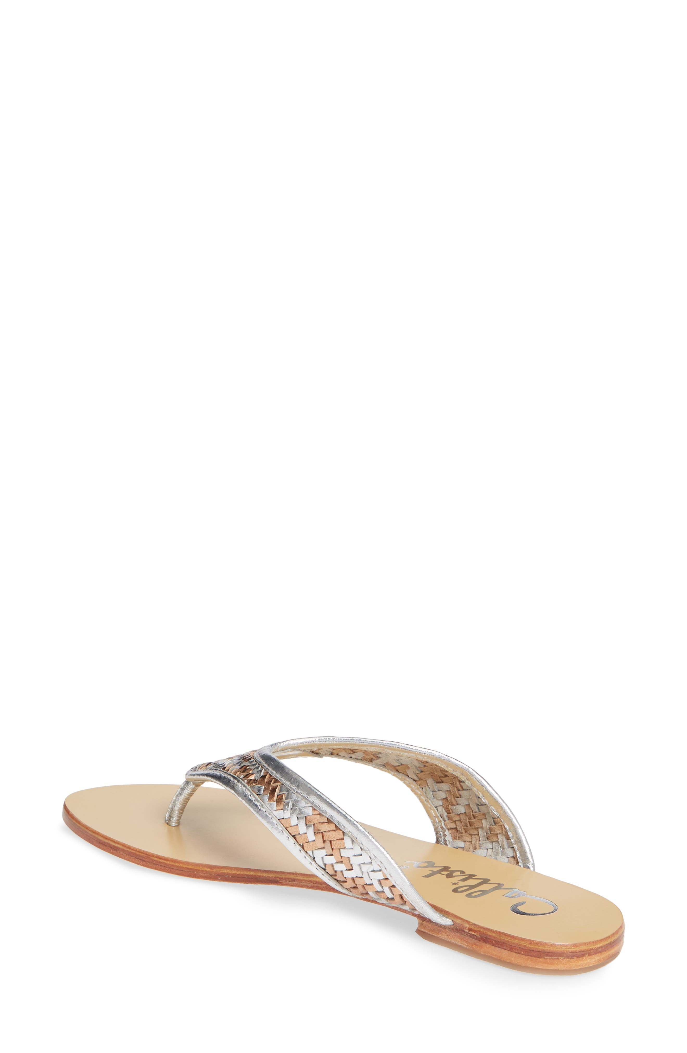 Thunder Woven Flip Flop,                             Alternate thumbnail 2, color,                             SILVER GOLD WOVEN LEATHER