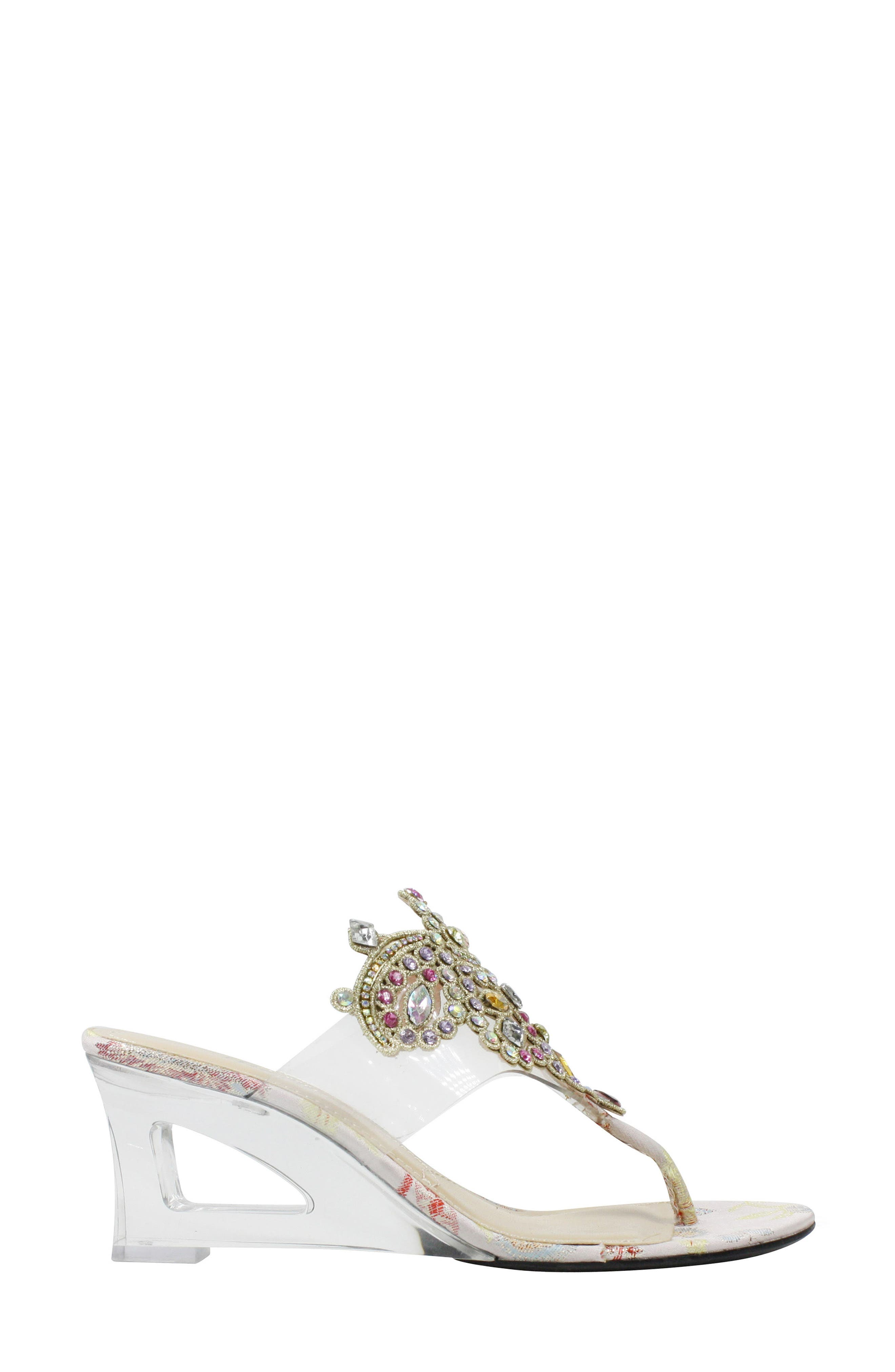 Victorina Embellished Wedge Mule,                             Alternate thumbnail 3, color,                             CLEAR/ PASTEL FABRIC