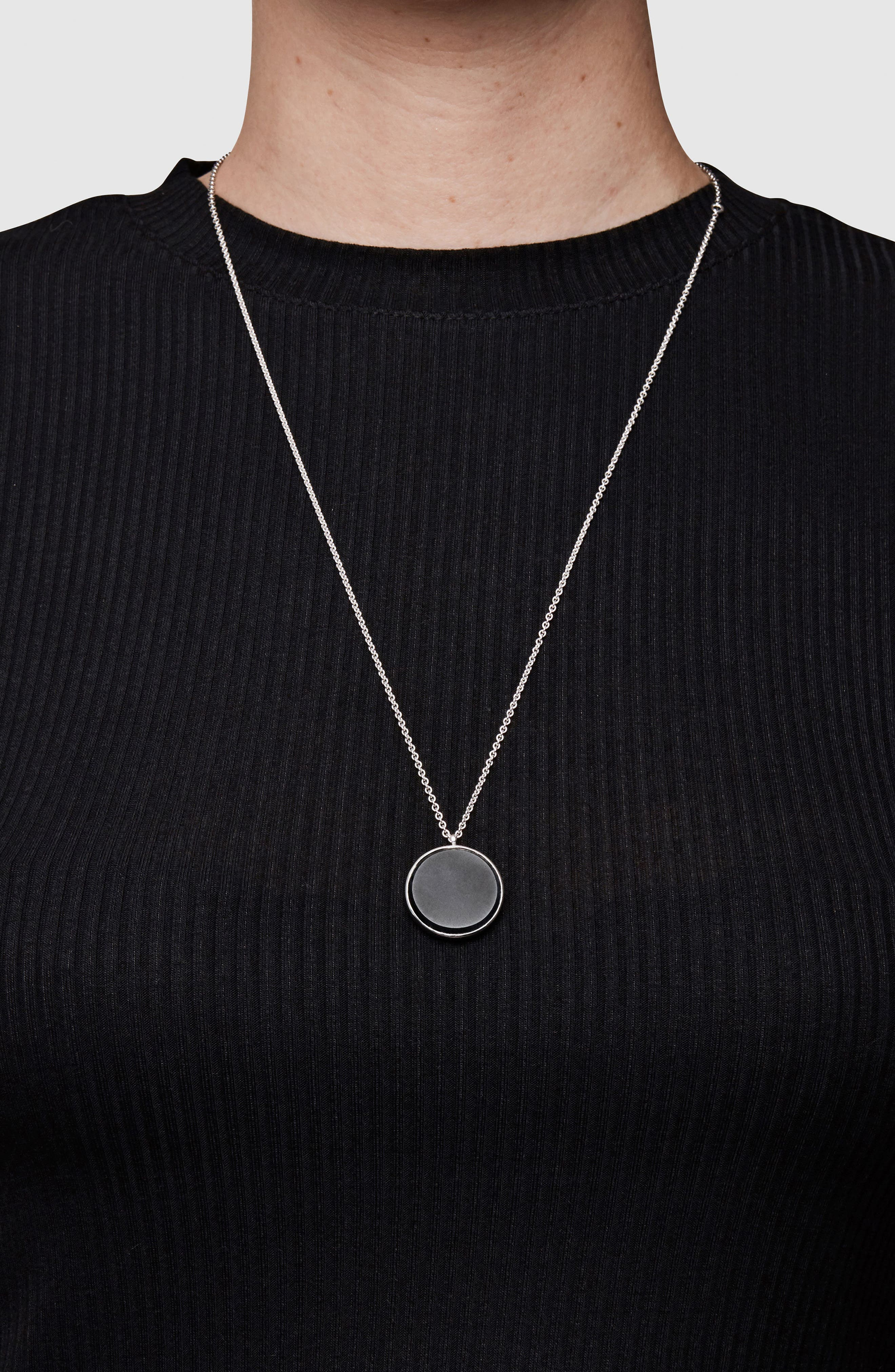Black Onyx Medallion Necklace,                             Alternate thumbnail 4, color,                             SILVER