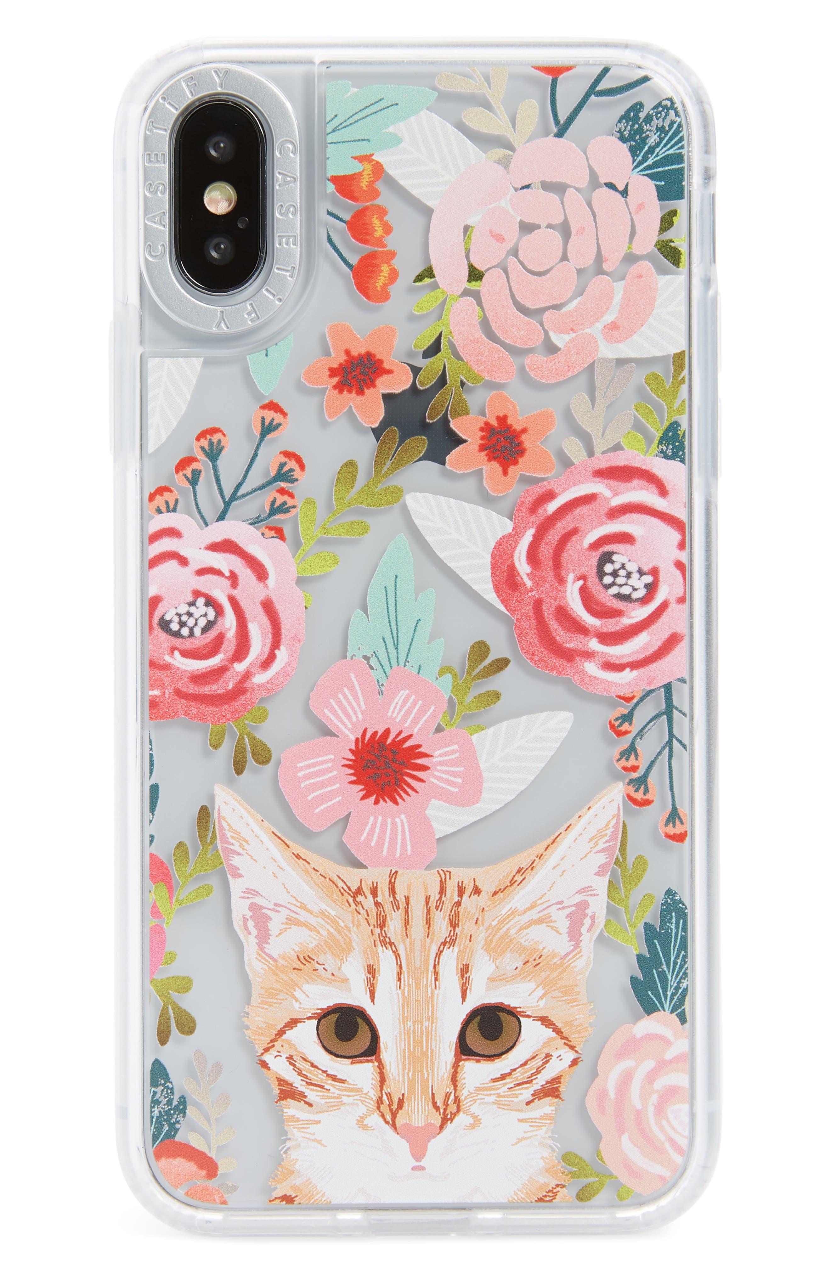 Cat Floral iPhone X/Xs, XR & X Max Case,                             Main thumbnail 1, color,                             MULTI ORANGE