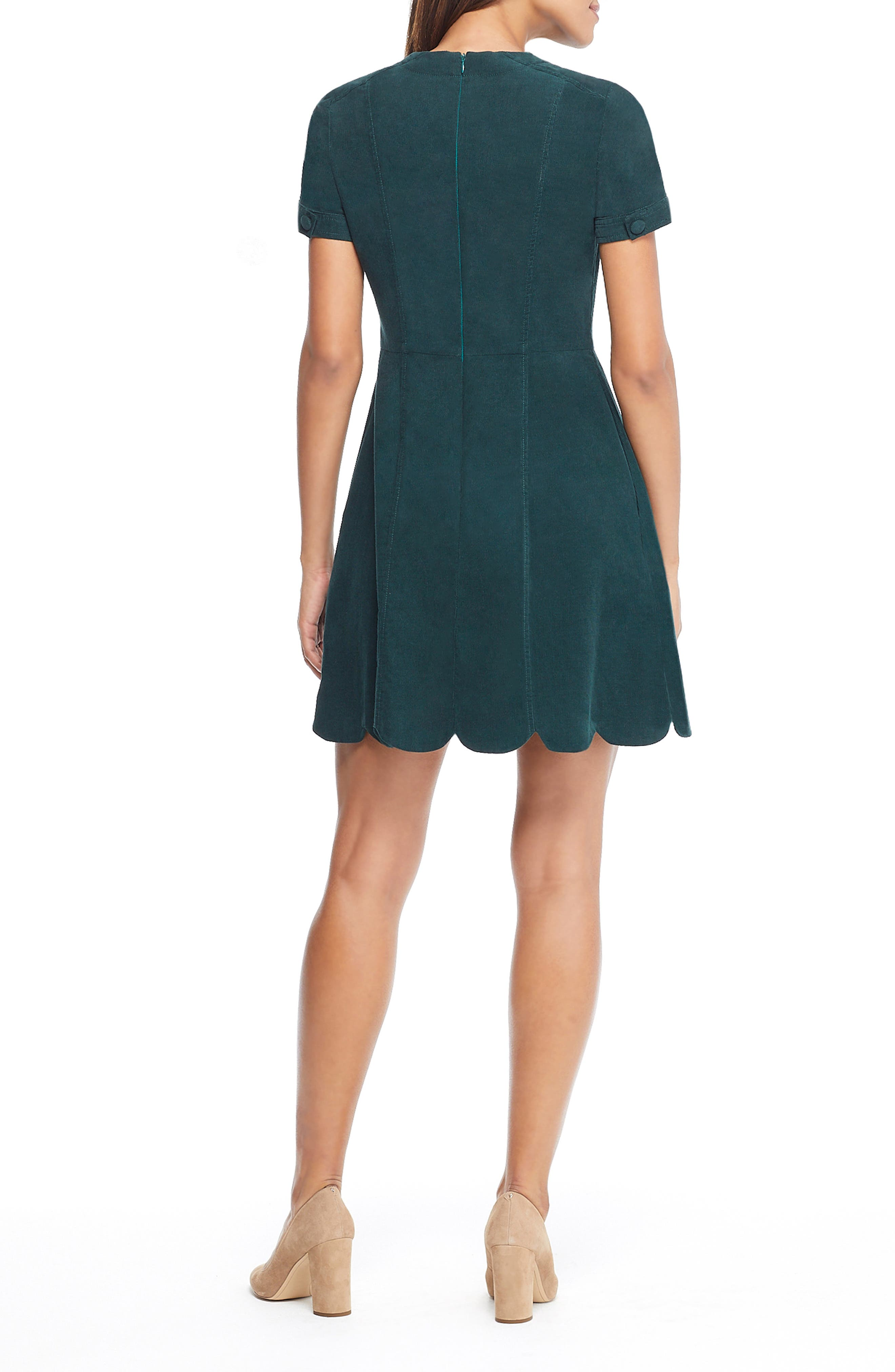 Michelle Micro Corduroy Fit & Flare Dress,                             Alternate thumbnail 2, color,                             GREEN