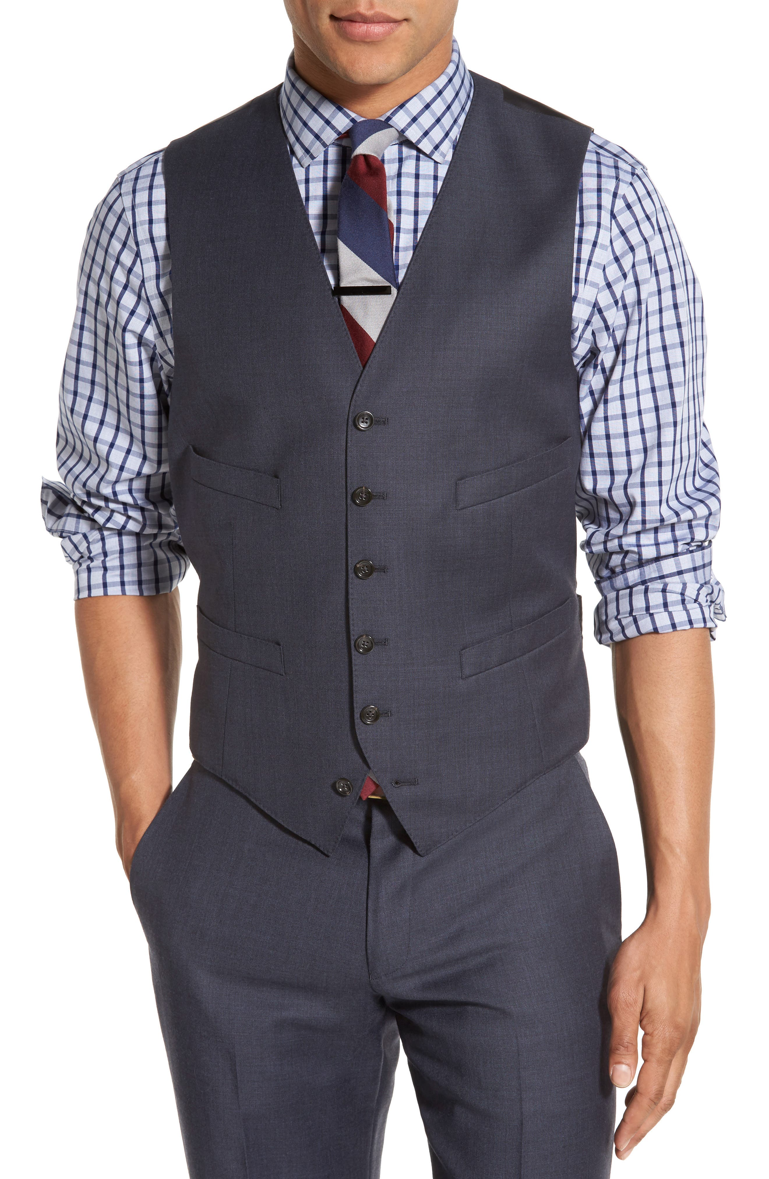 Ludlow Trim Fit Solid Wool Vest,                             Alternate thumbnail 9, color,                             410