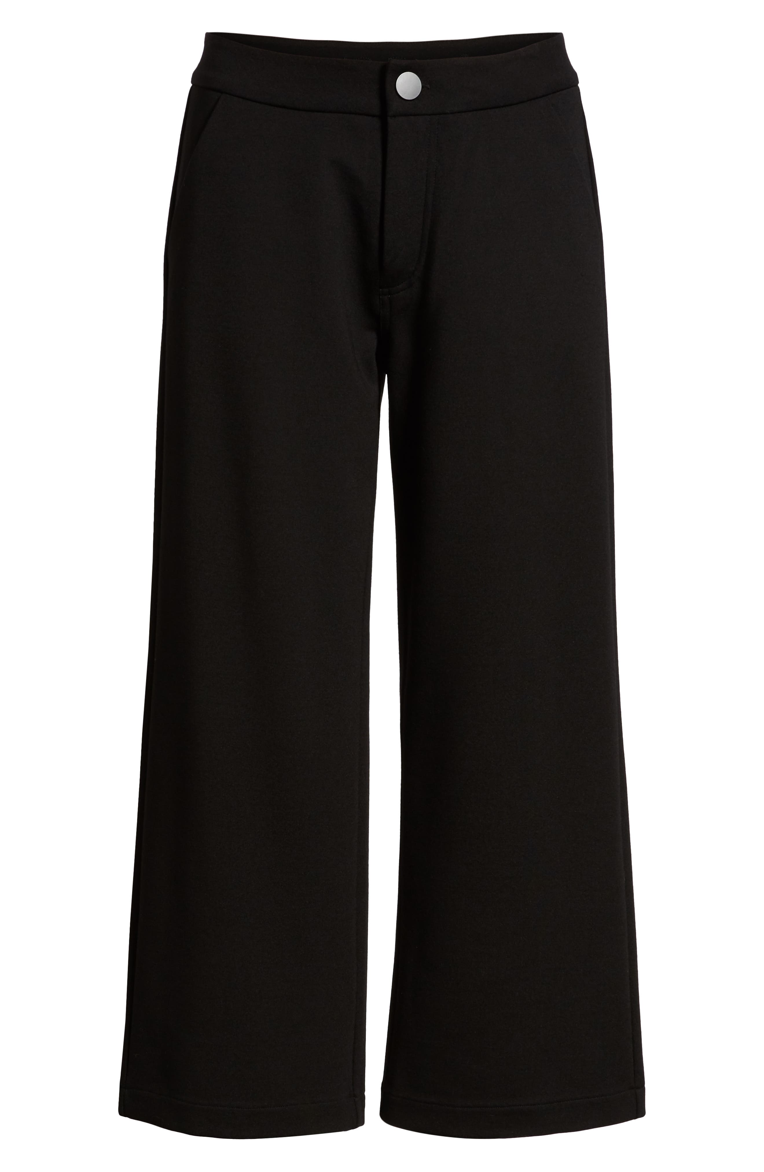 Blair Crop Wide Leg Ponte Pants,                             Alternate thumbnail 6, color,                             BLACK