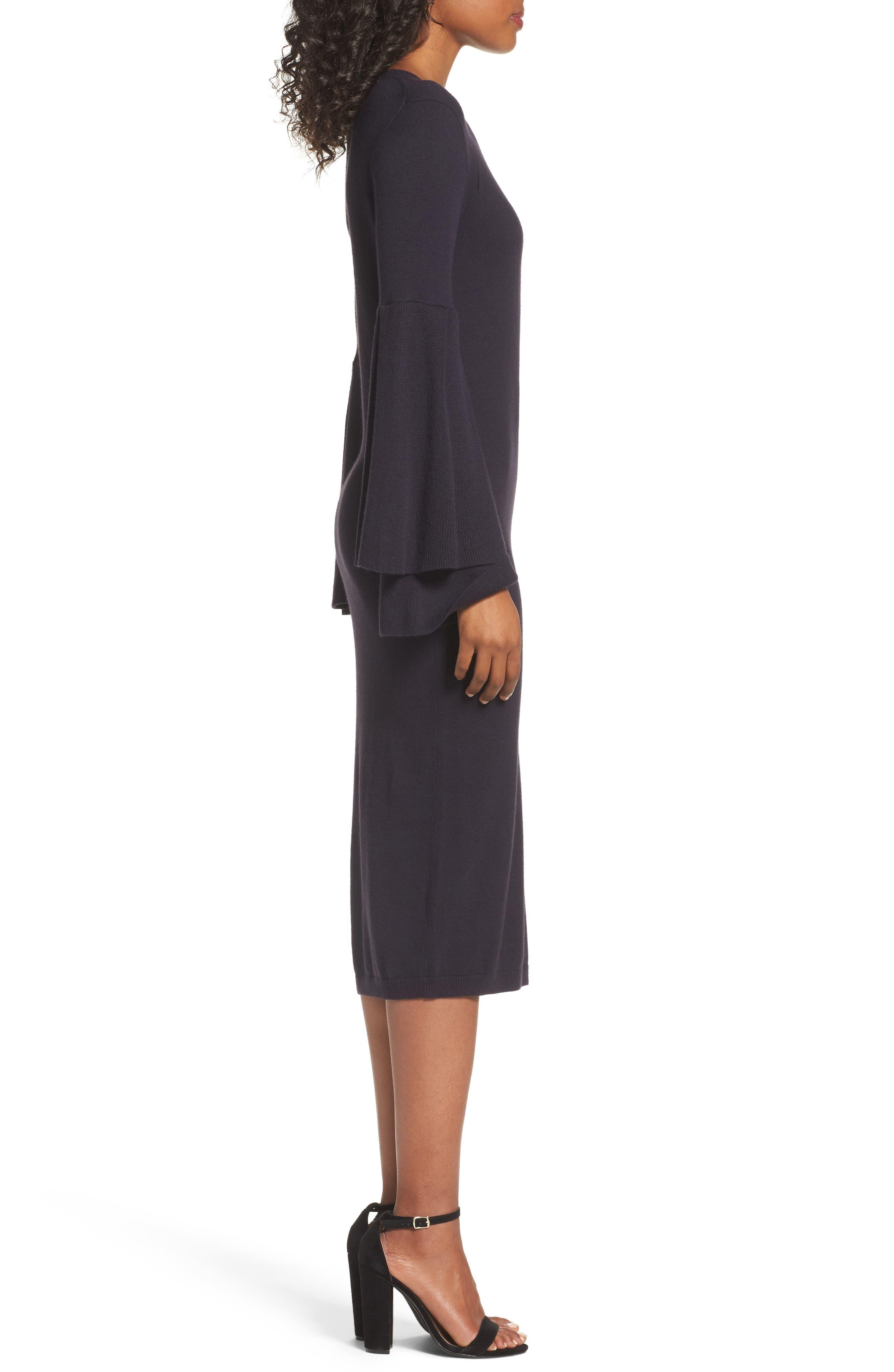 Bell Sleeve Sweater Dress,                             Alternate thumbnail 3, color,                             400