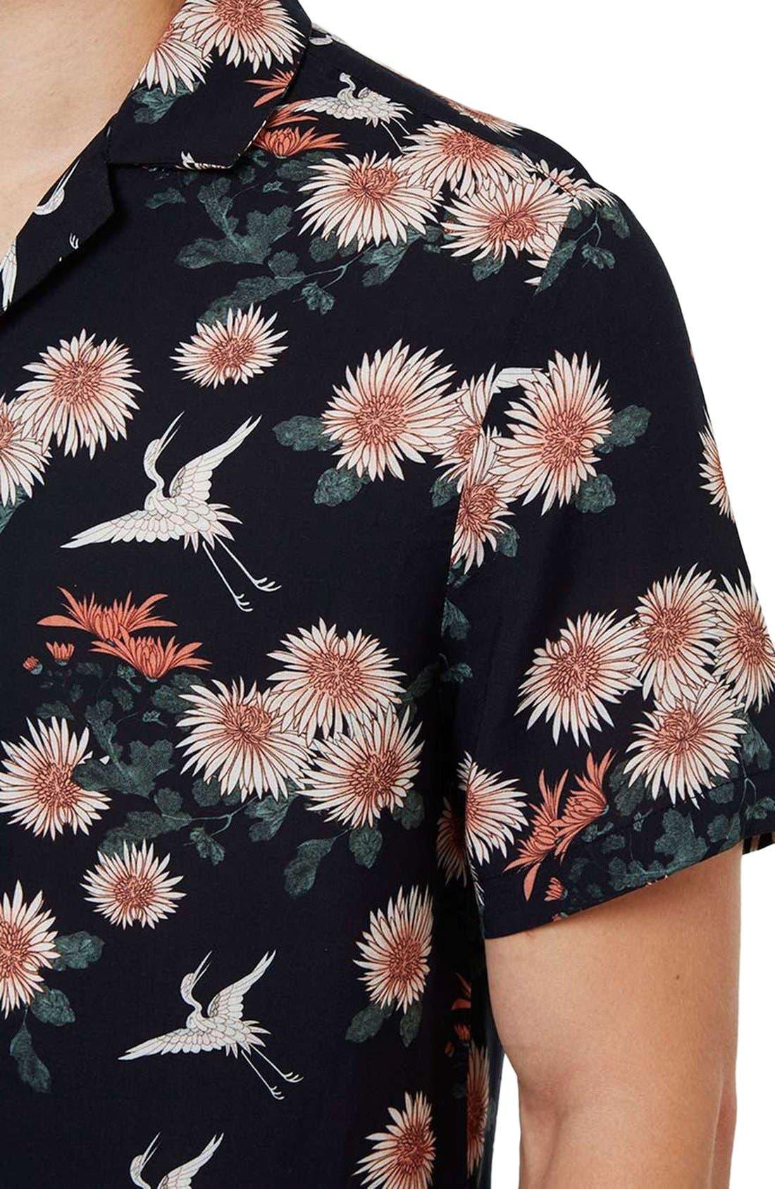 Floral Print Revere Collar Short Sleeve Shirt,                             Alternate thumbnail 2, color,                             001