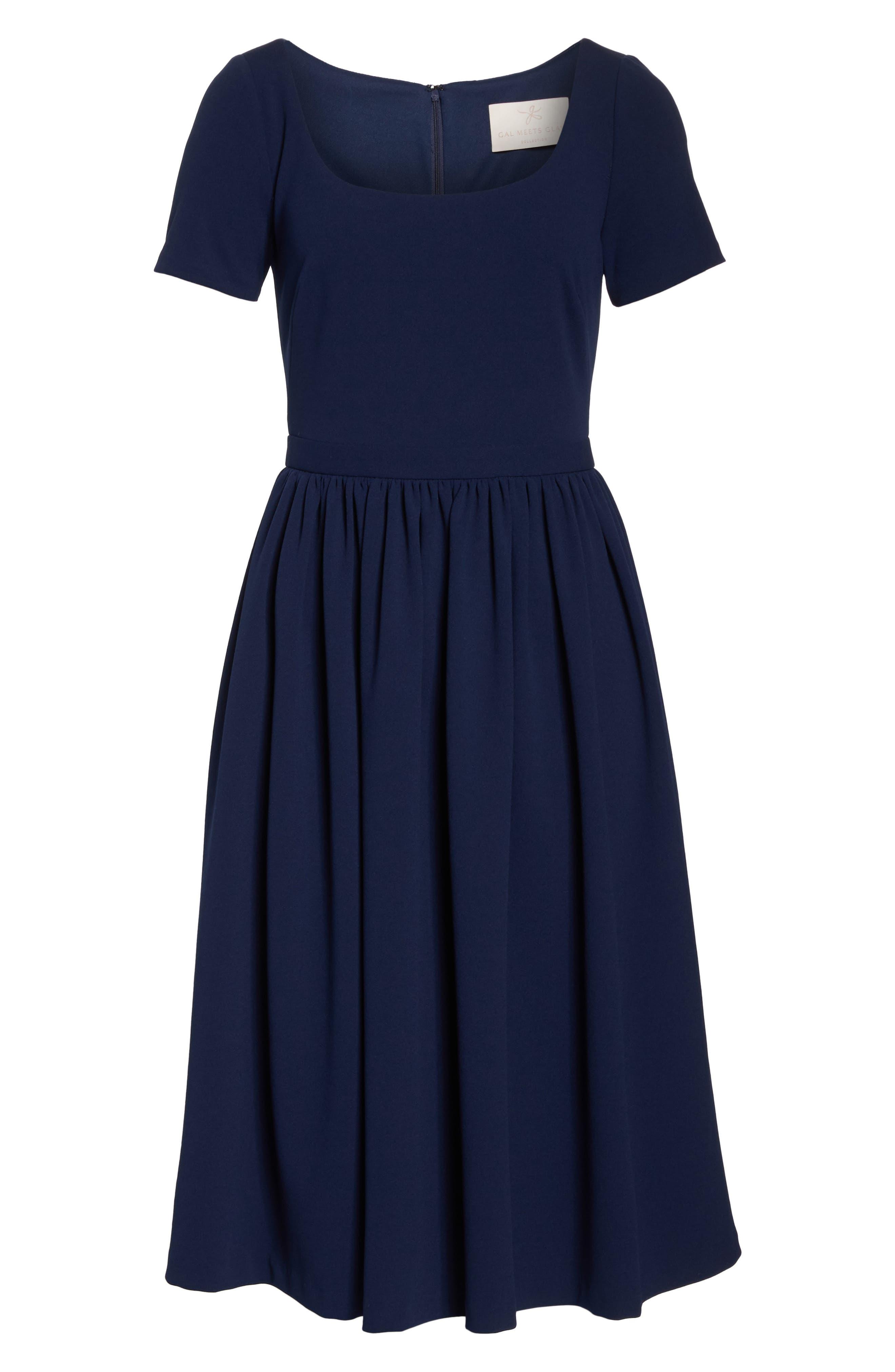 Annie Scuba Crepe Fit & Flare Dress,                             Alternate thumbnail 7, color,                             NAVY