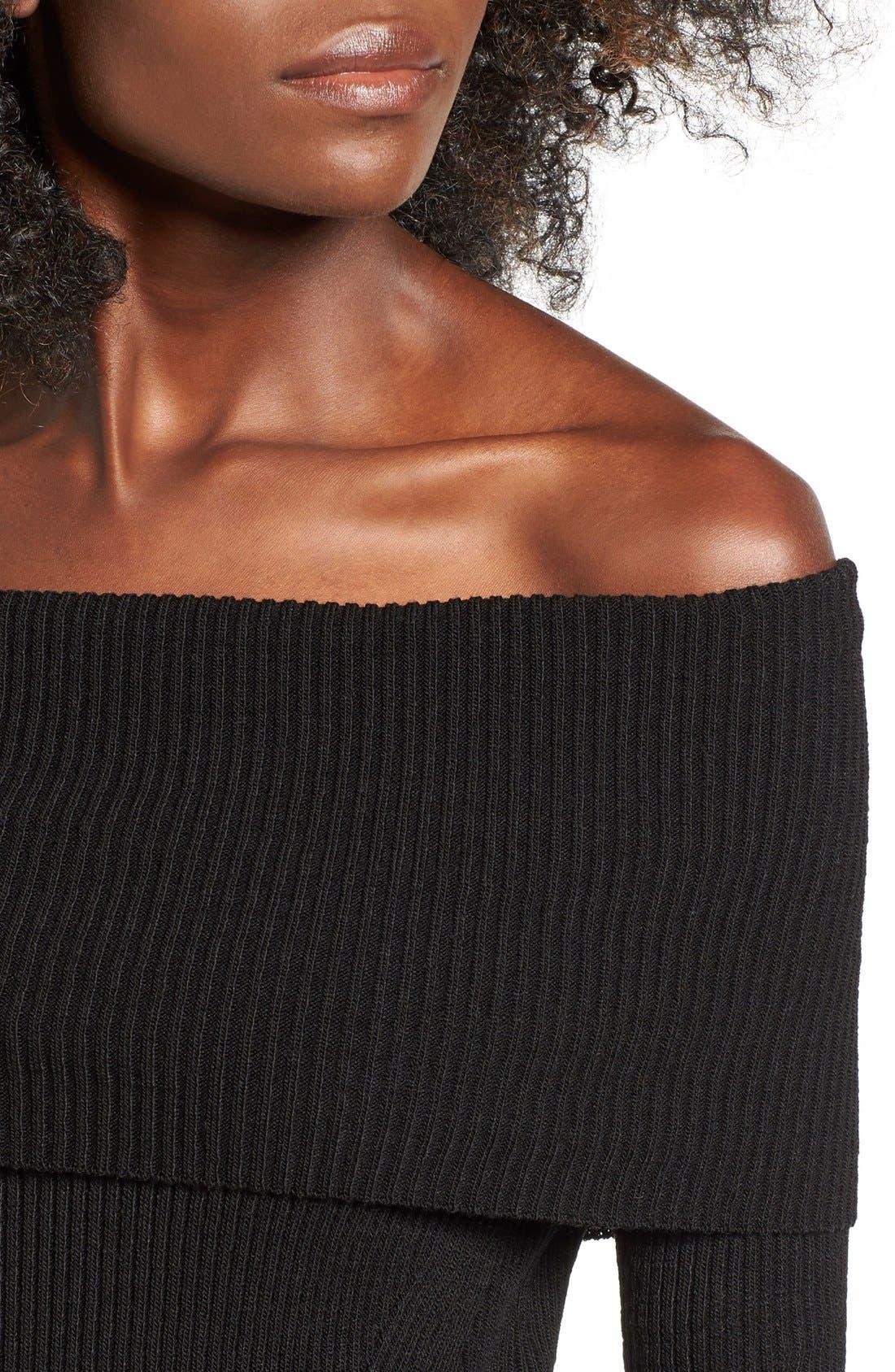 COTTON EMPORIUM,                             Off the Shoulder Knit Body-Con Dress,                             Alternate thumbnail 4, color,                             001