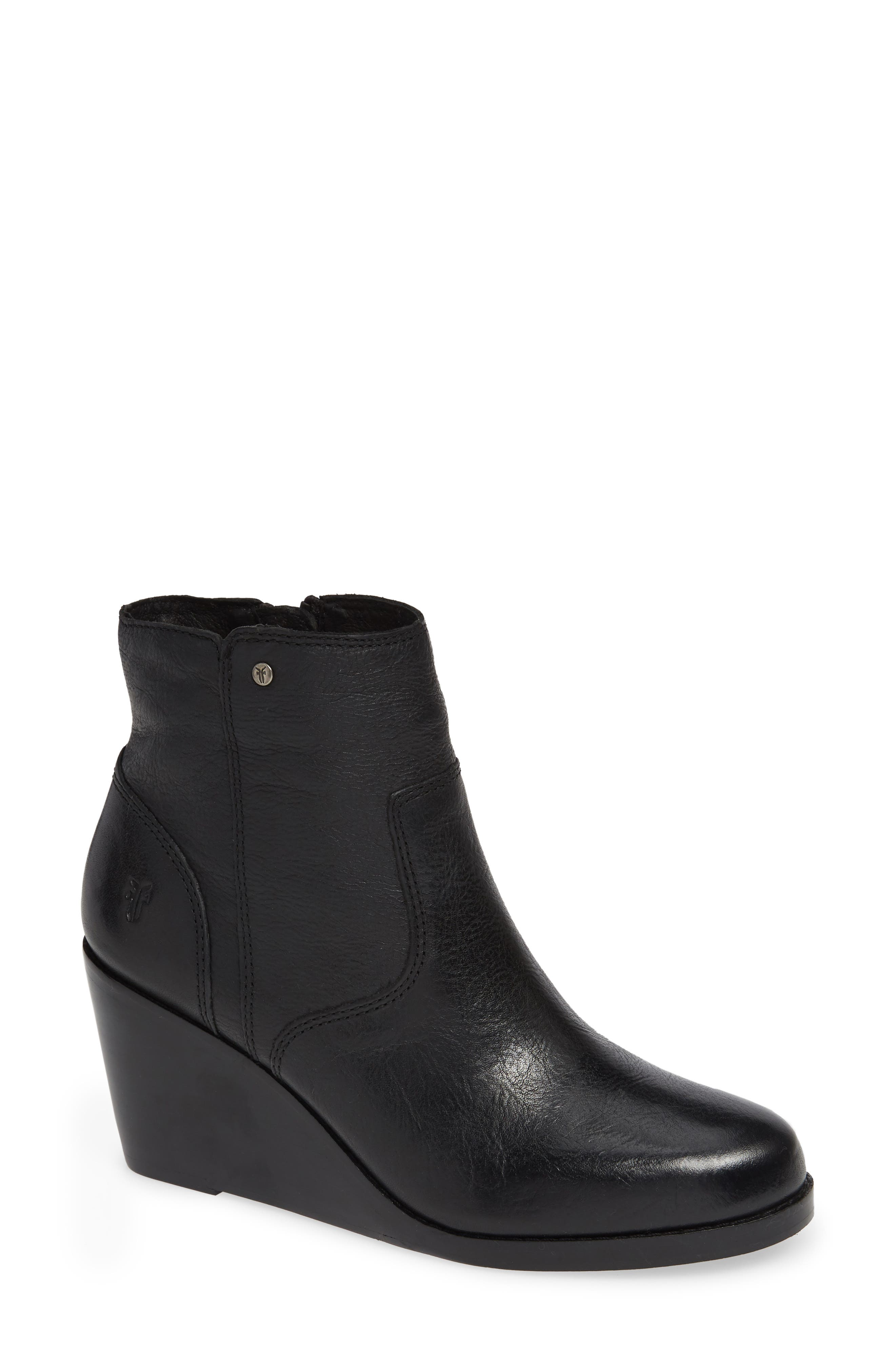 Emma Wedge Bootie,                         Main,                         color, BLACK LEATHER