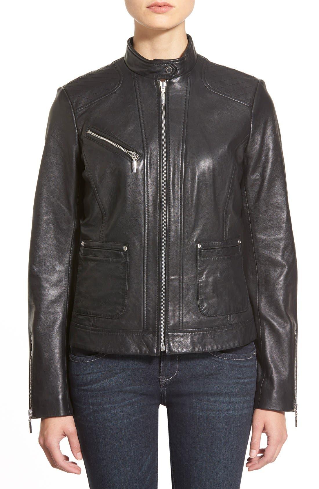Zip Front Leather Jacket,                             Alternate thumbnail 7, color,