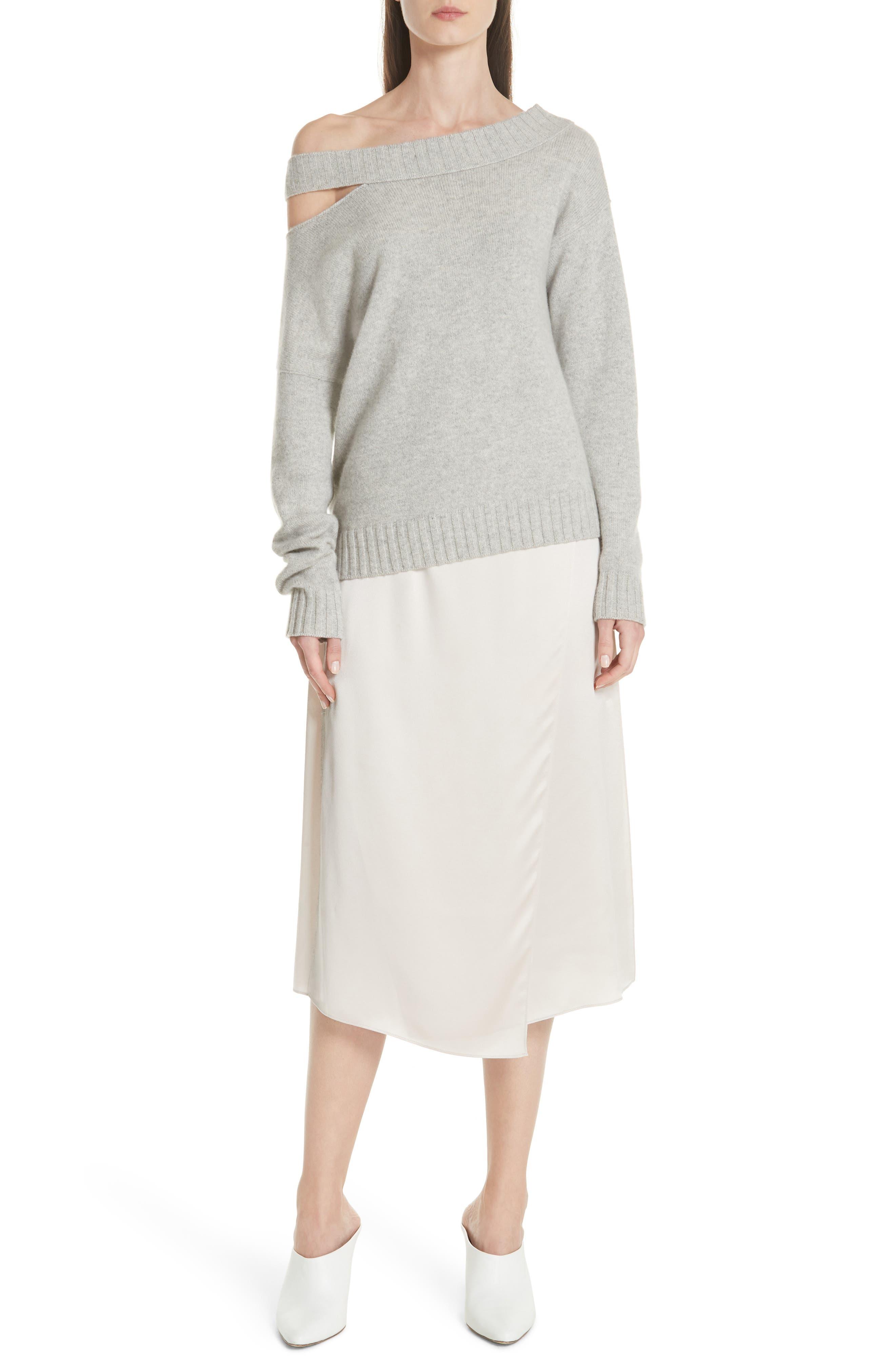 One Shoulder Slit Pullover Sweater,                             Alternate thumbnail 7, color,                             LIGHT HEATHER GREY