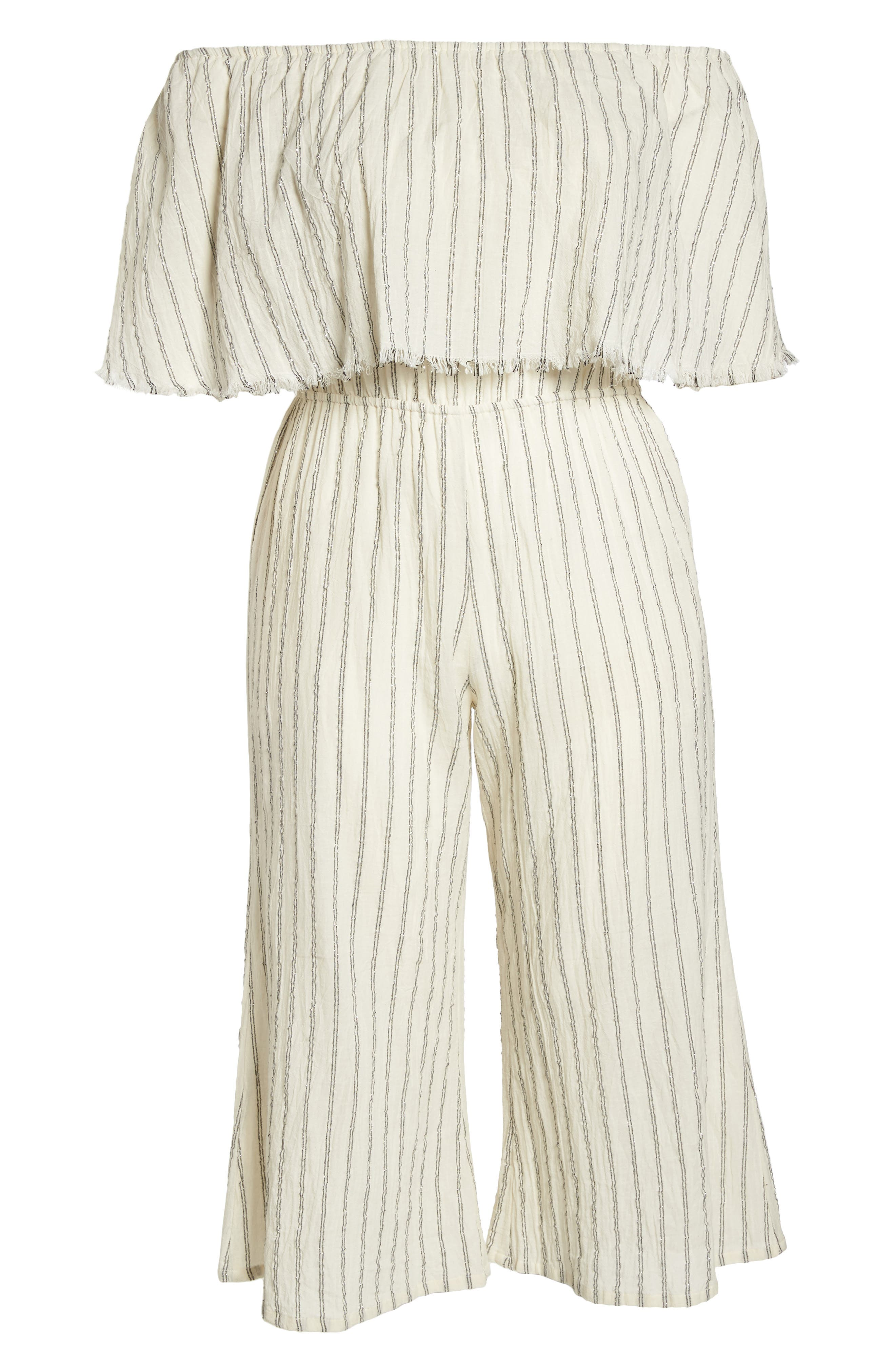 Ruffle Coulotte Cover-Up Jumpsuit,                             Alternate thumbnail 6, color,                             900