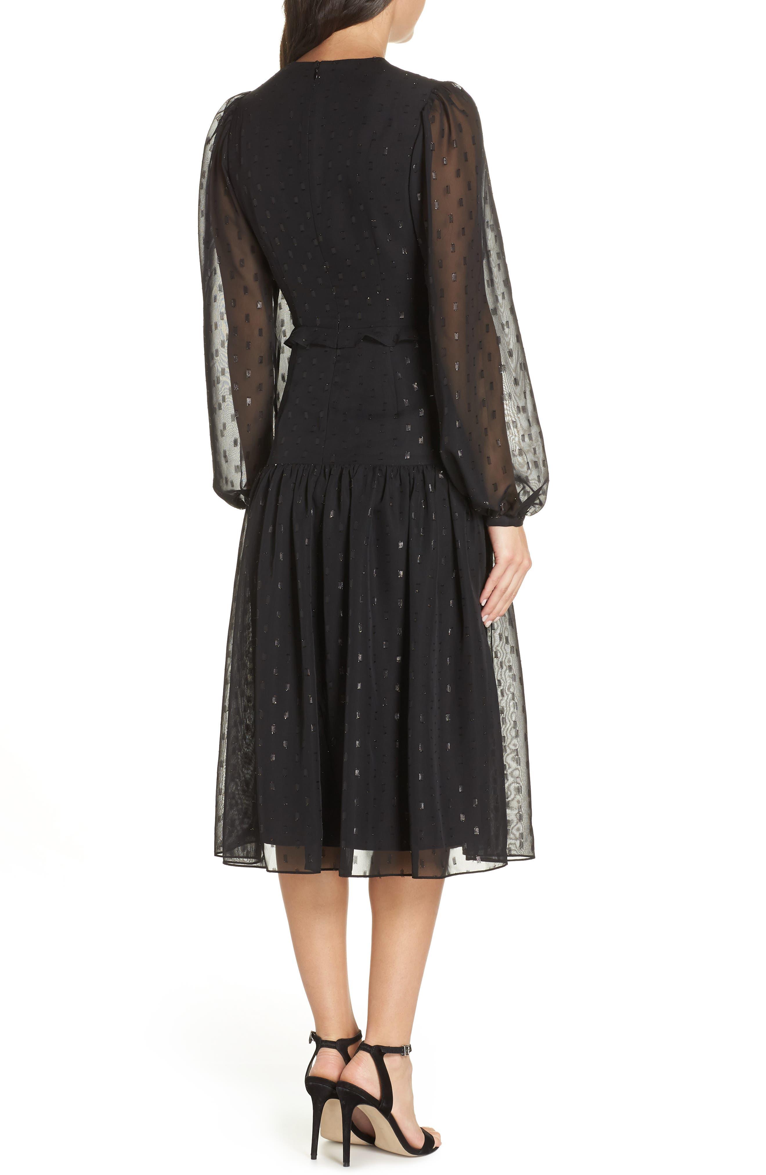 Fil Coupé Midi Dress,                             Alternate thumbnail 3, color,                             BLACK
