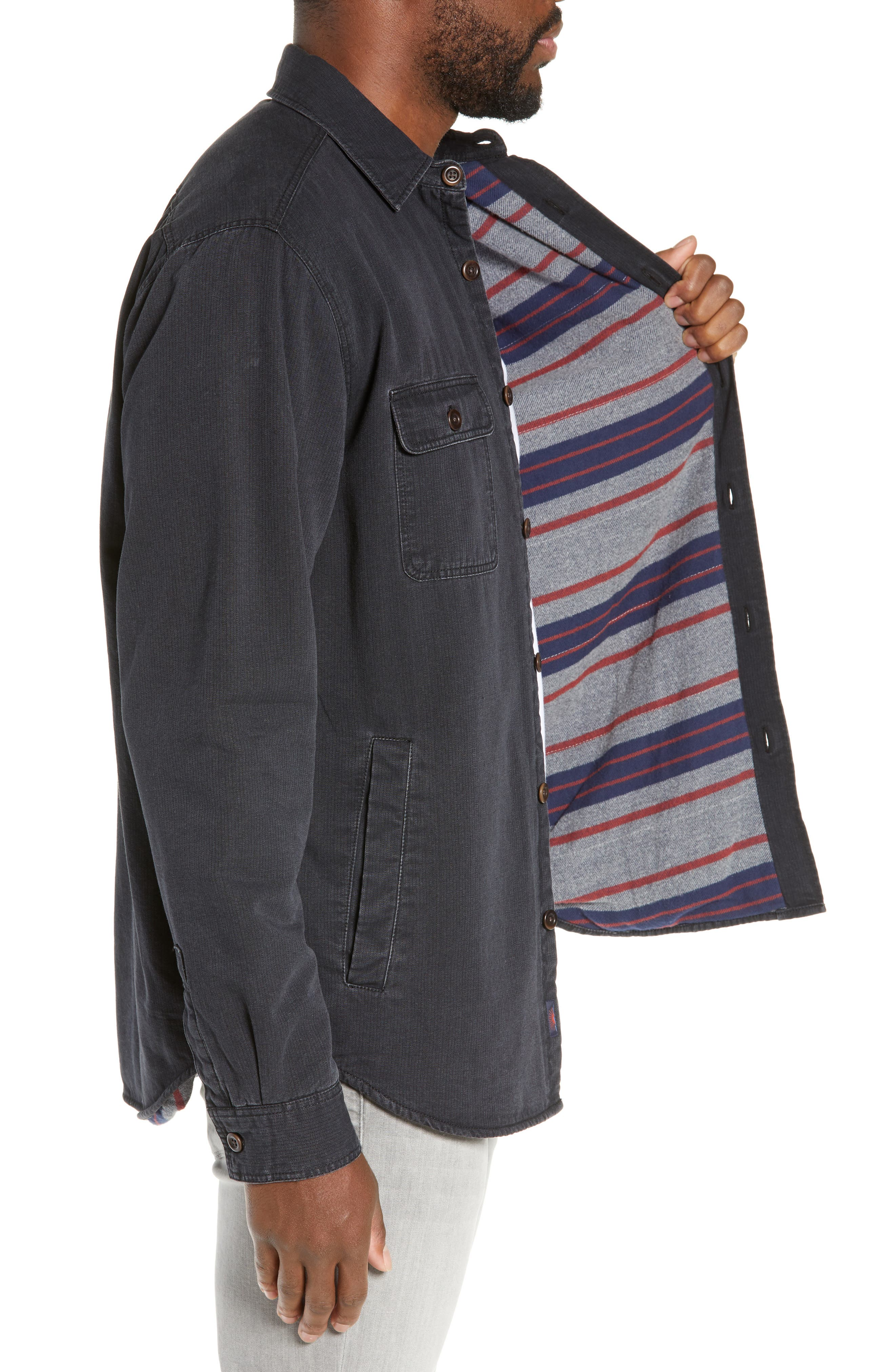 Blanket Lined CPO Jacket,                             Alternate thumbnail 3, color,                             SULPHUR DYED BLACK