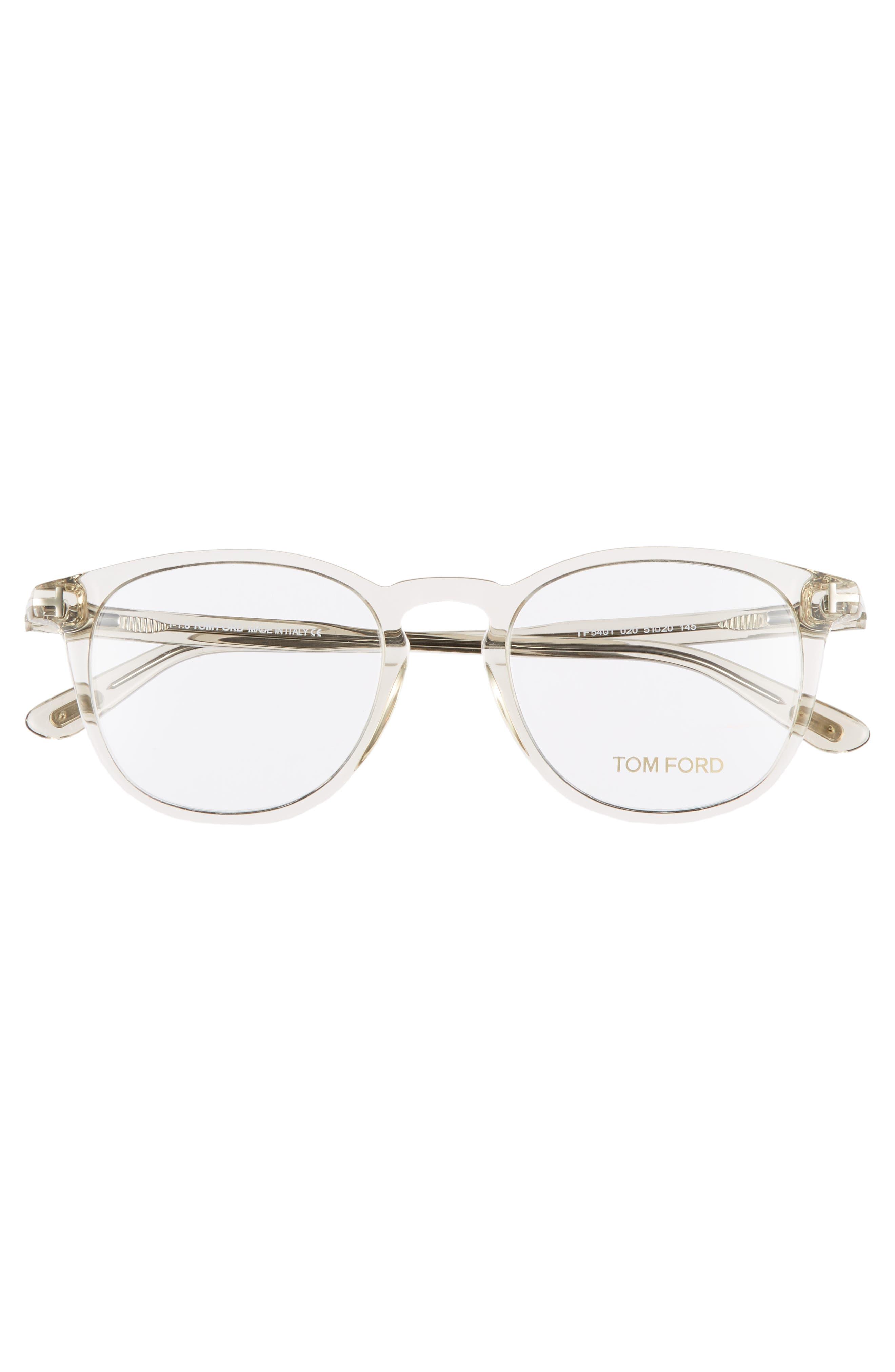 51mm Round Optical Glasses,                             Alternate thumbnail 3, color,                             SHINY TRANSPARENT GREY