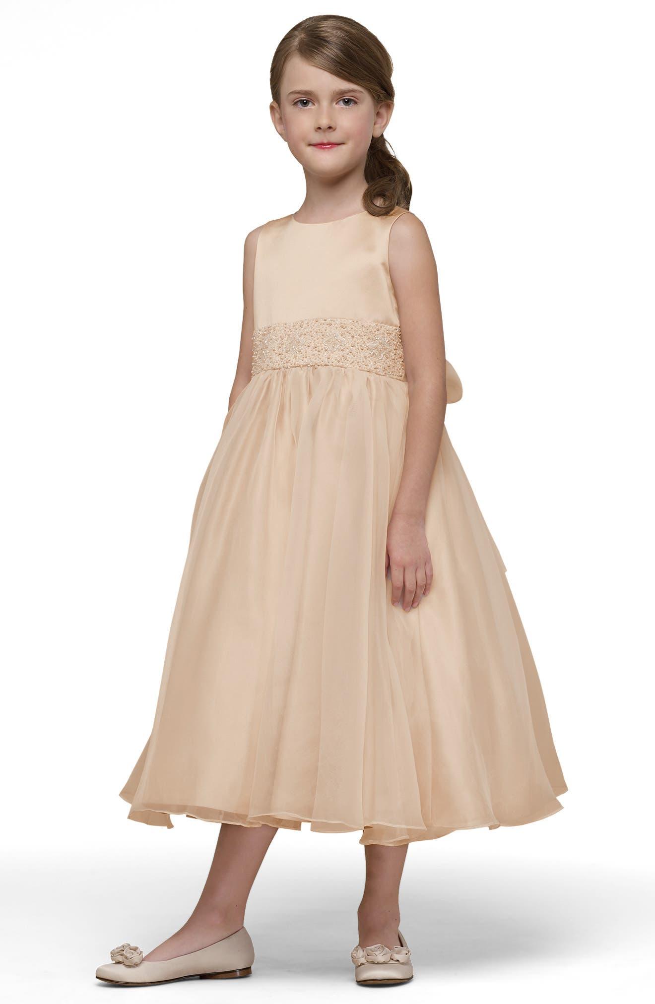 Beaded Satin Sleeveless Dress,                             Alternate thumbnail 5, color,                             CHAMPAGNE