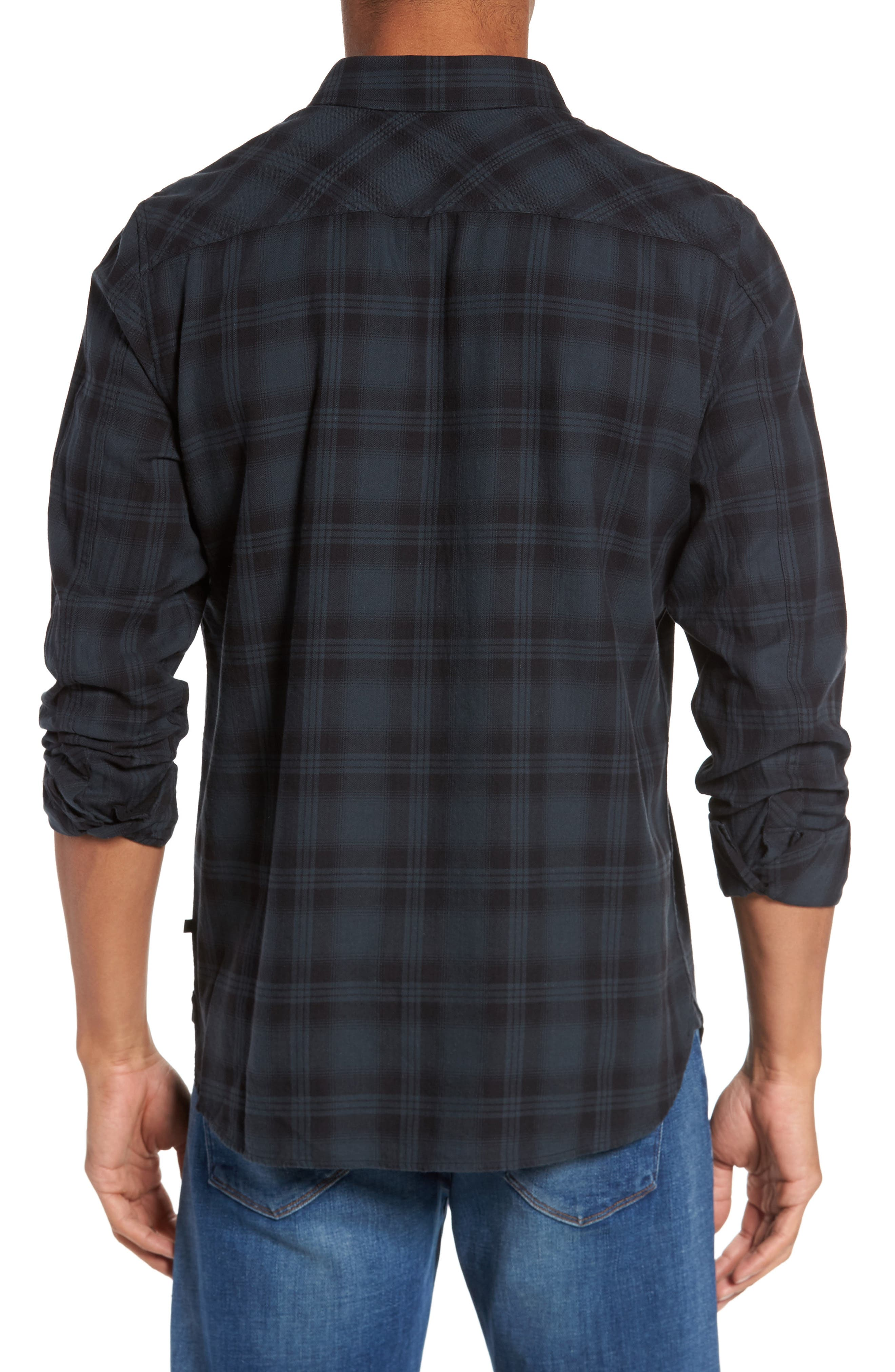 Colton Slim Fit Plaid Sport Shirt,                             Alternate thumbnail 3, color,