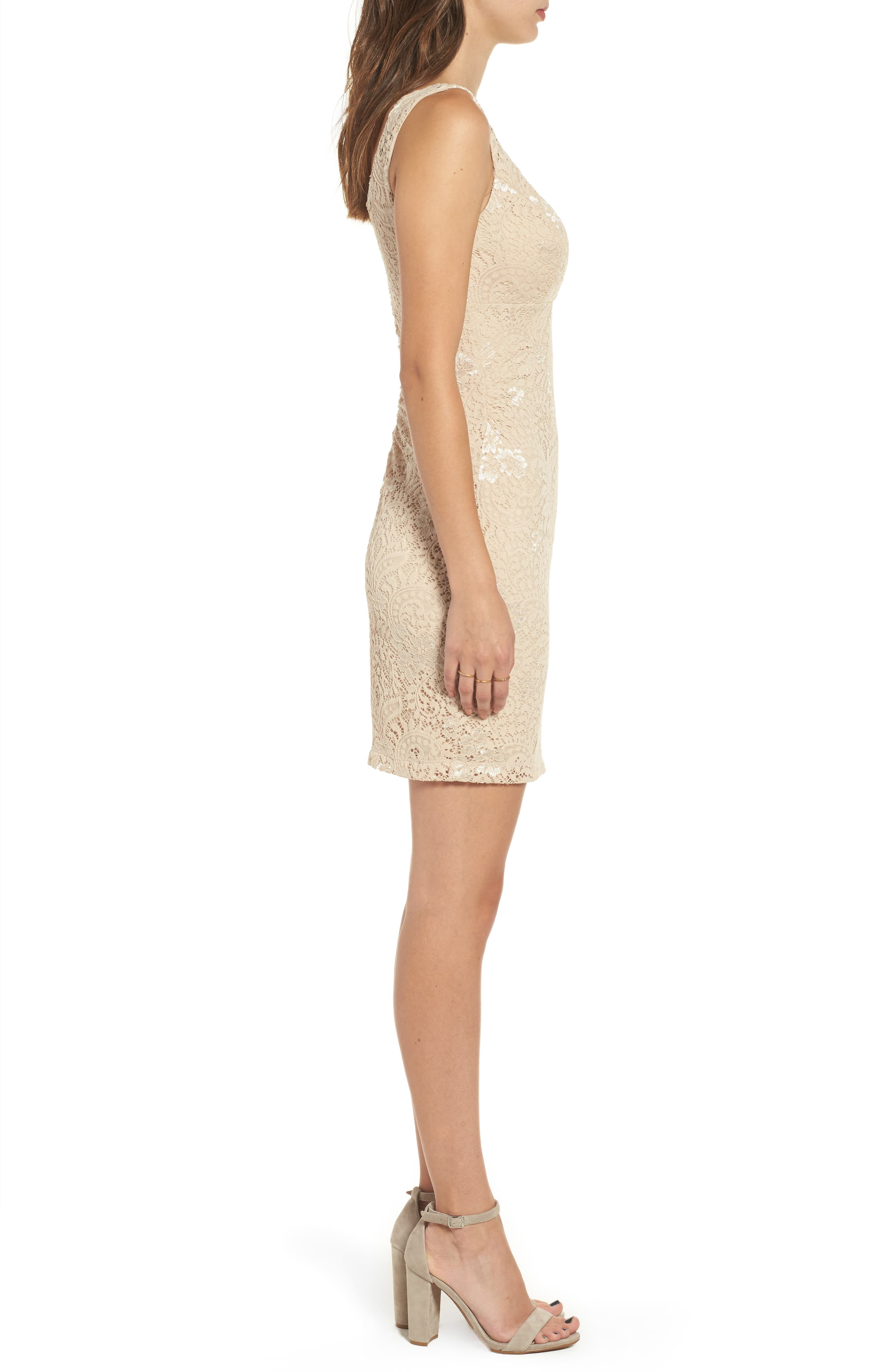 Love Nickie Lew Lace Body Con Dress,                             Alternate thumbnail 6, color,