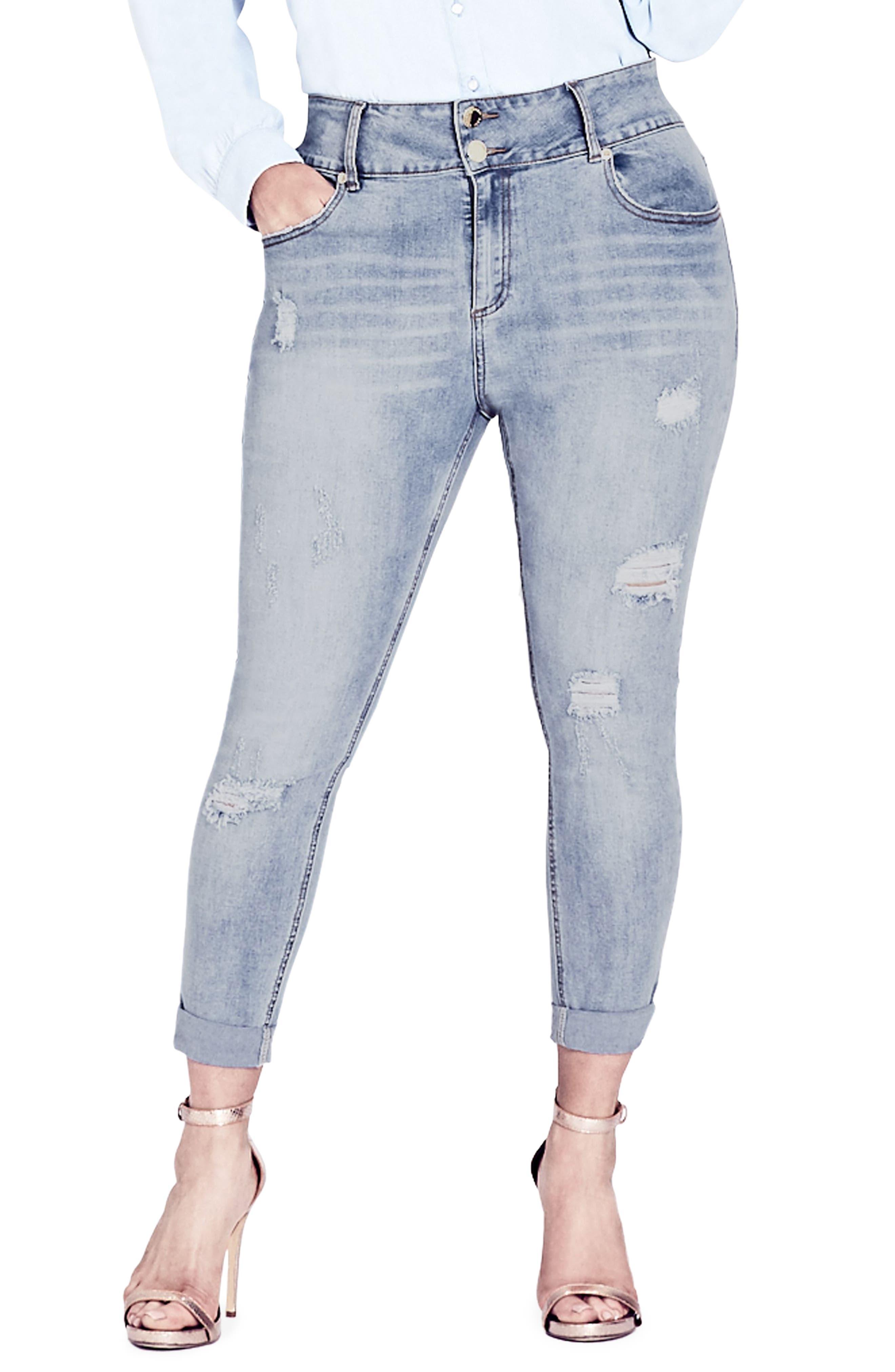 Asha Rip & Roll Jeans,                             Main thumbnail 1, color,                             LIGHT DENIM