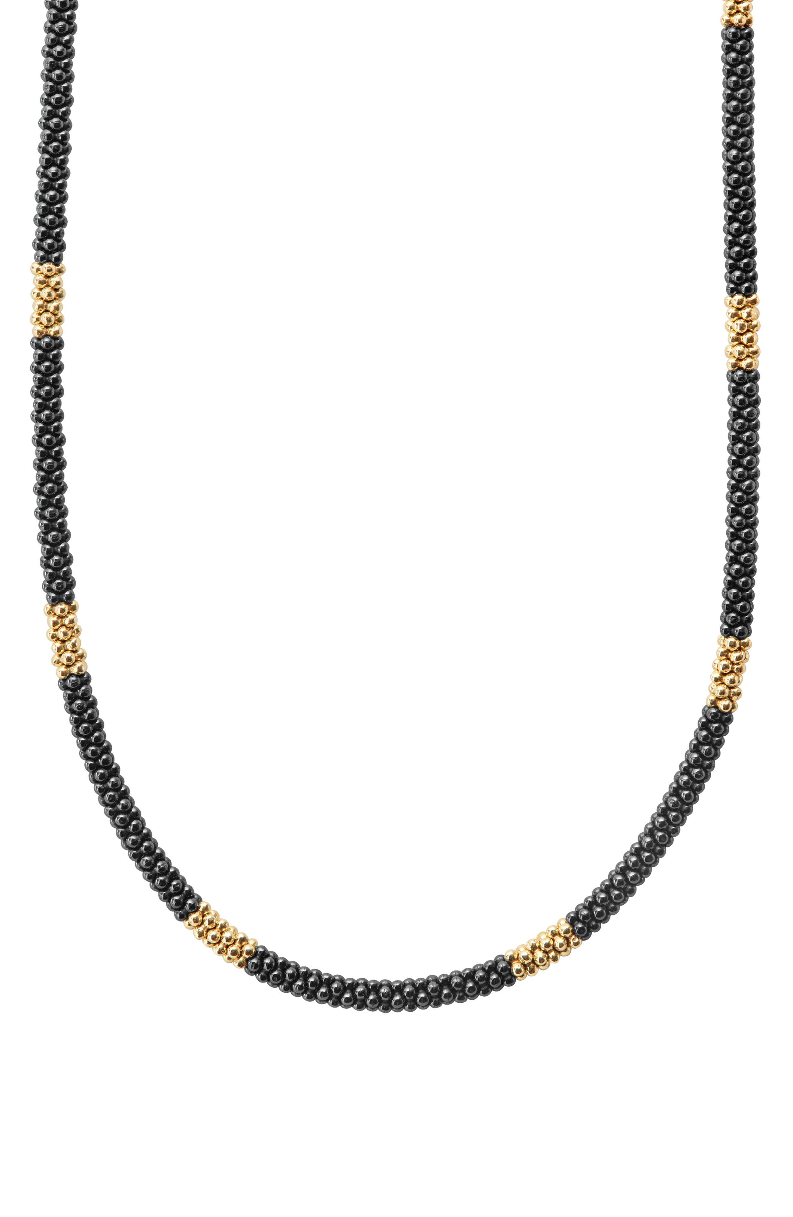 Gold & Black Caviar Rope Necklace,                             Alternate thumbnail 5, color,                             GOLD