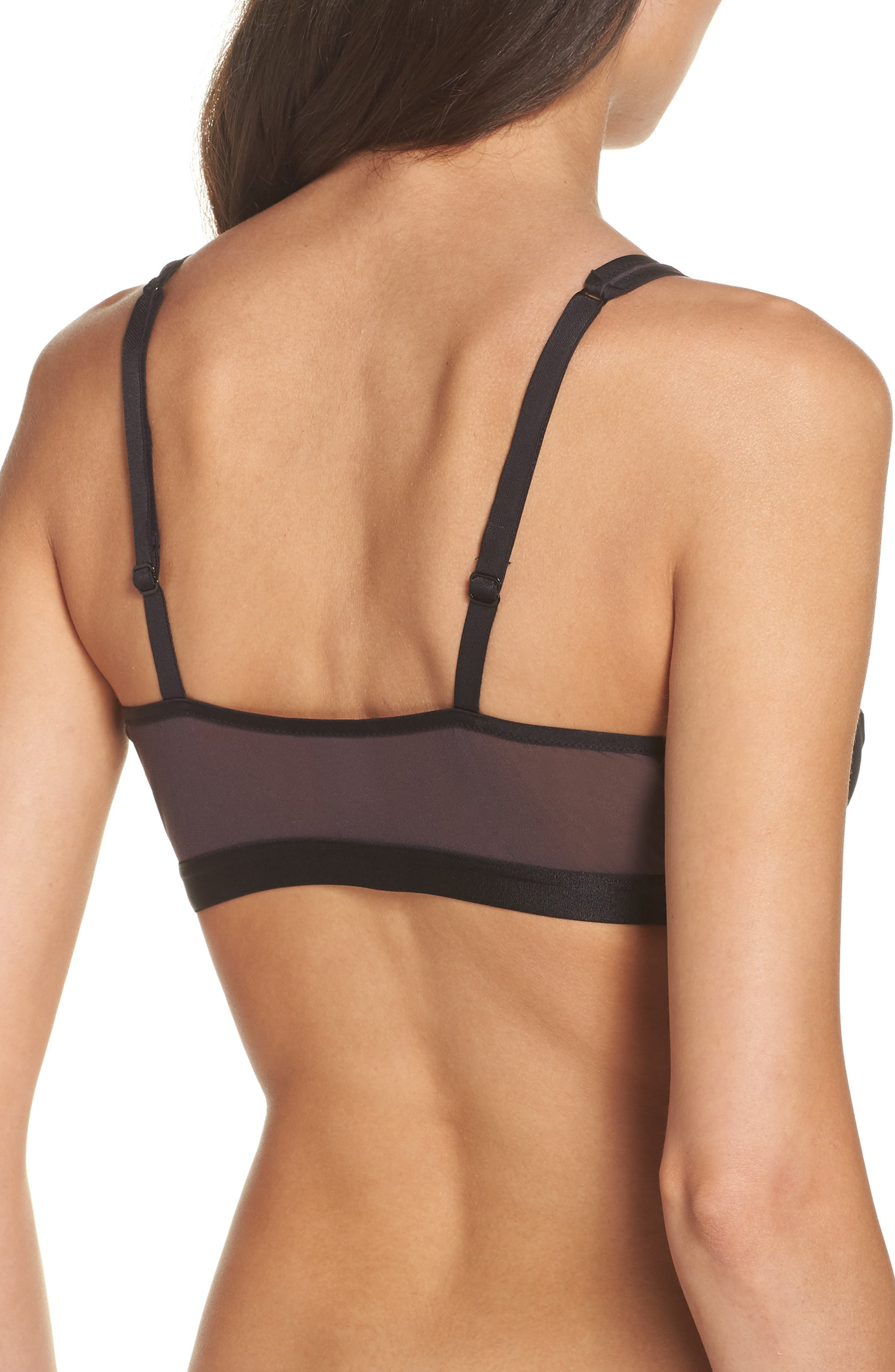 Mixed Meshages Triangle Bralette,                             Alternate thumbnail 2, color,                             002