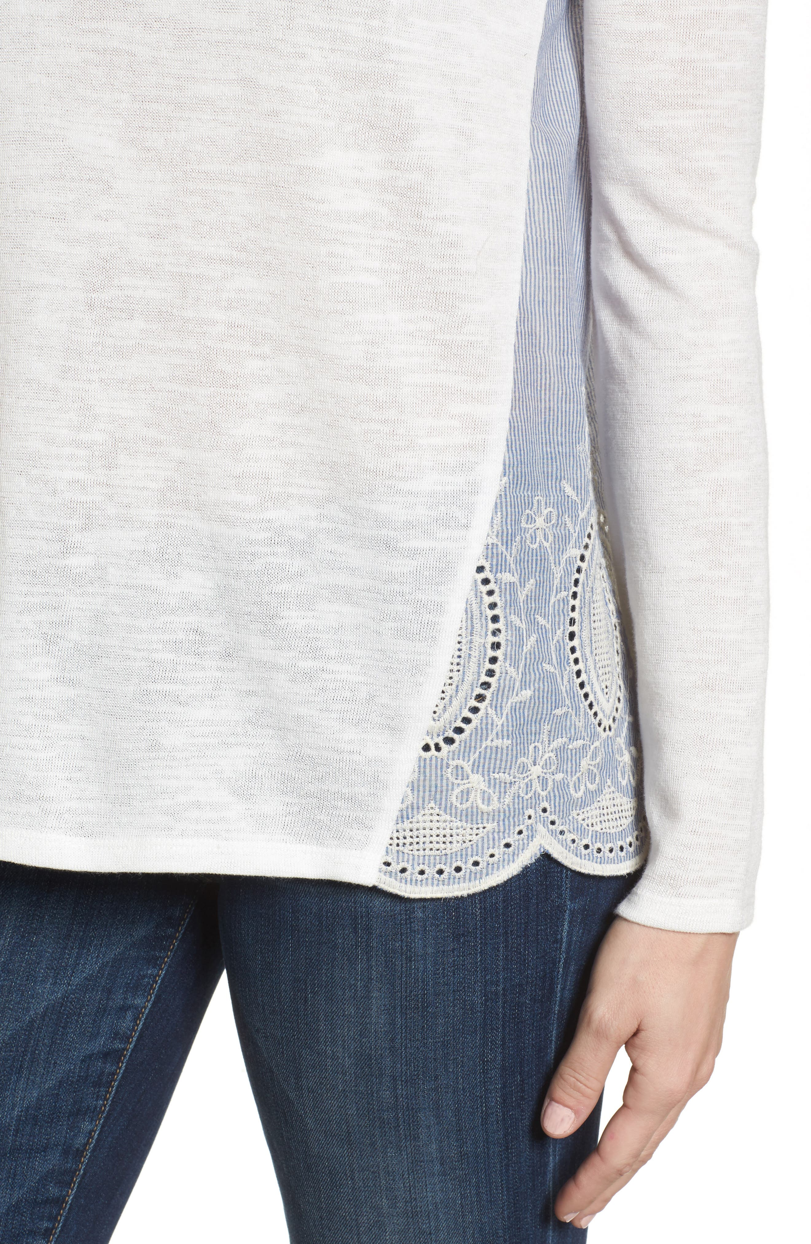 Embroidered Mixed Media Top,                             Alternate thumbnail 8, color,