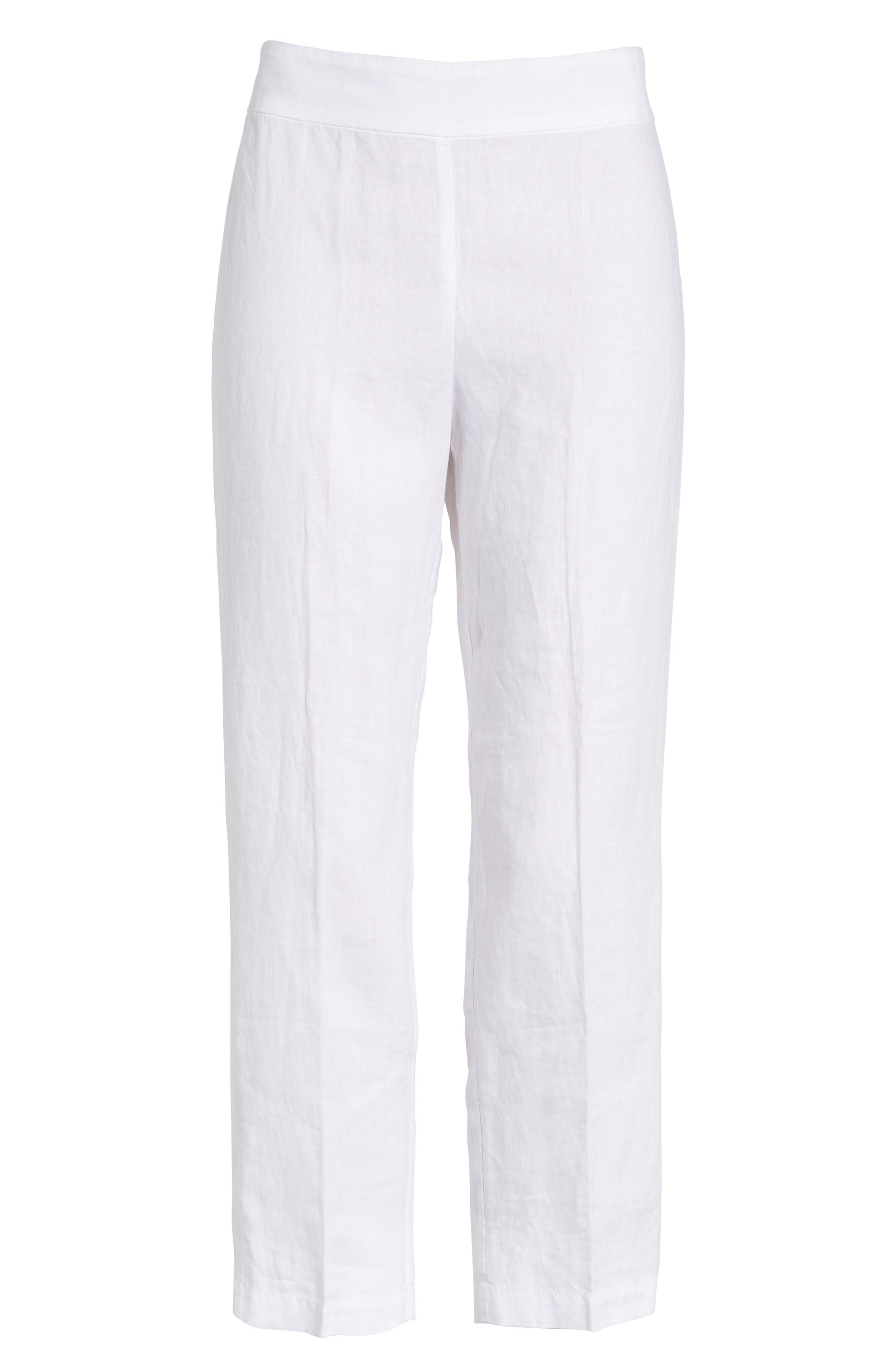 Organic Linen Crop Pants,                             Alternate thumbnail 3, color,                             100