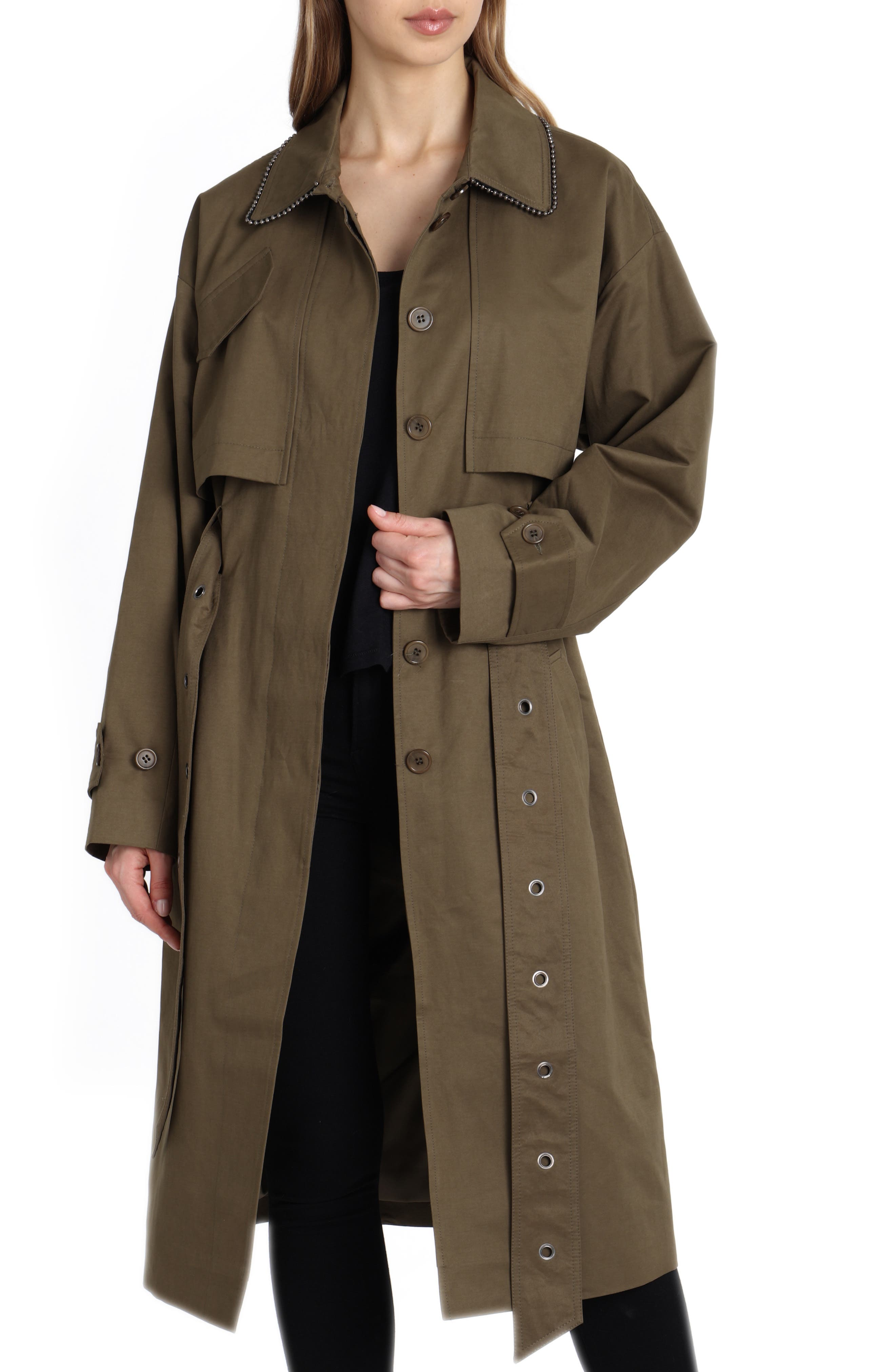 Badgley Mischka Cotton Blend Utility Trench Coat,                             Main thumbnail 1, color,                             301