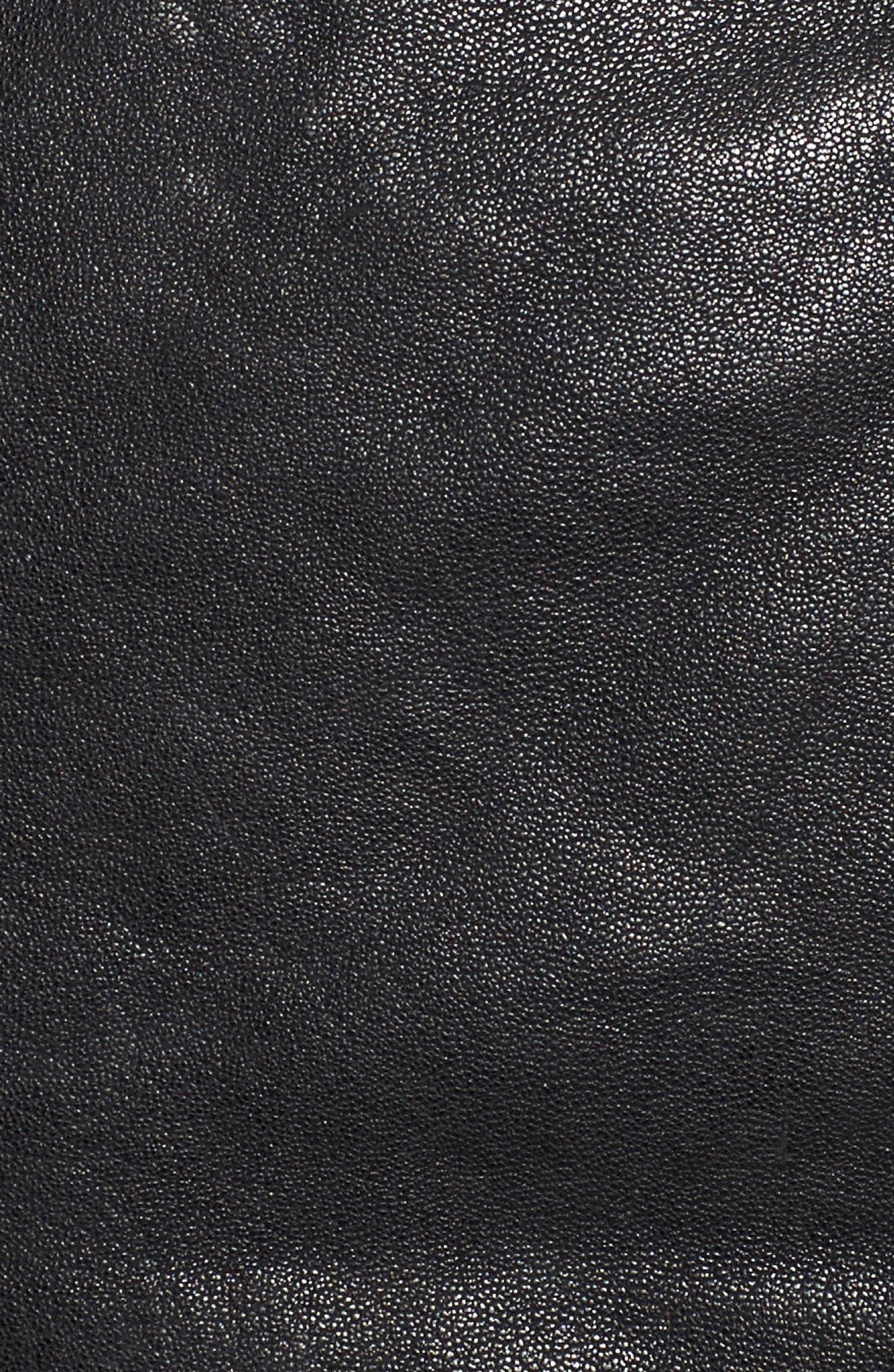 Washed Leather Crop Moto Jacket,                             Alternate thumbnail 5, color,                             001