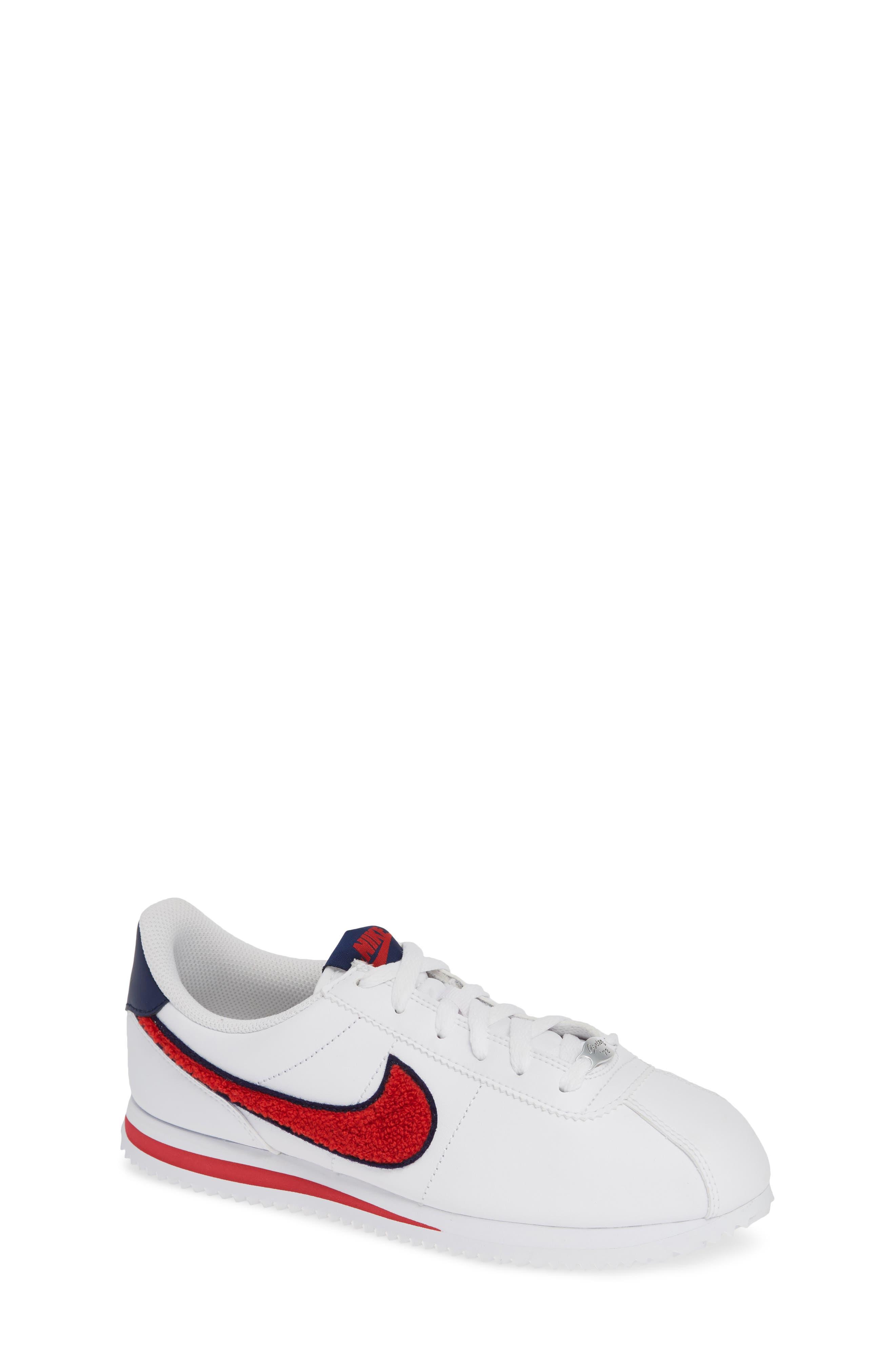 Cortez Basic SE Sneaker,                             Main thumbnail 1, color,                             WHITE/ UNIVERSITY RED/ BLUE
