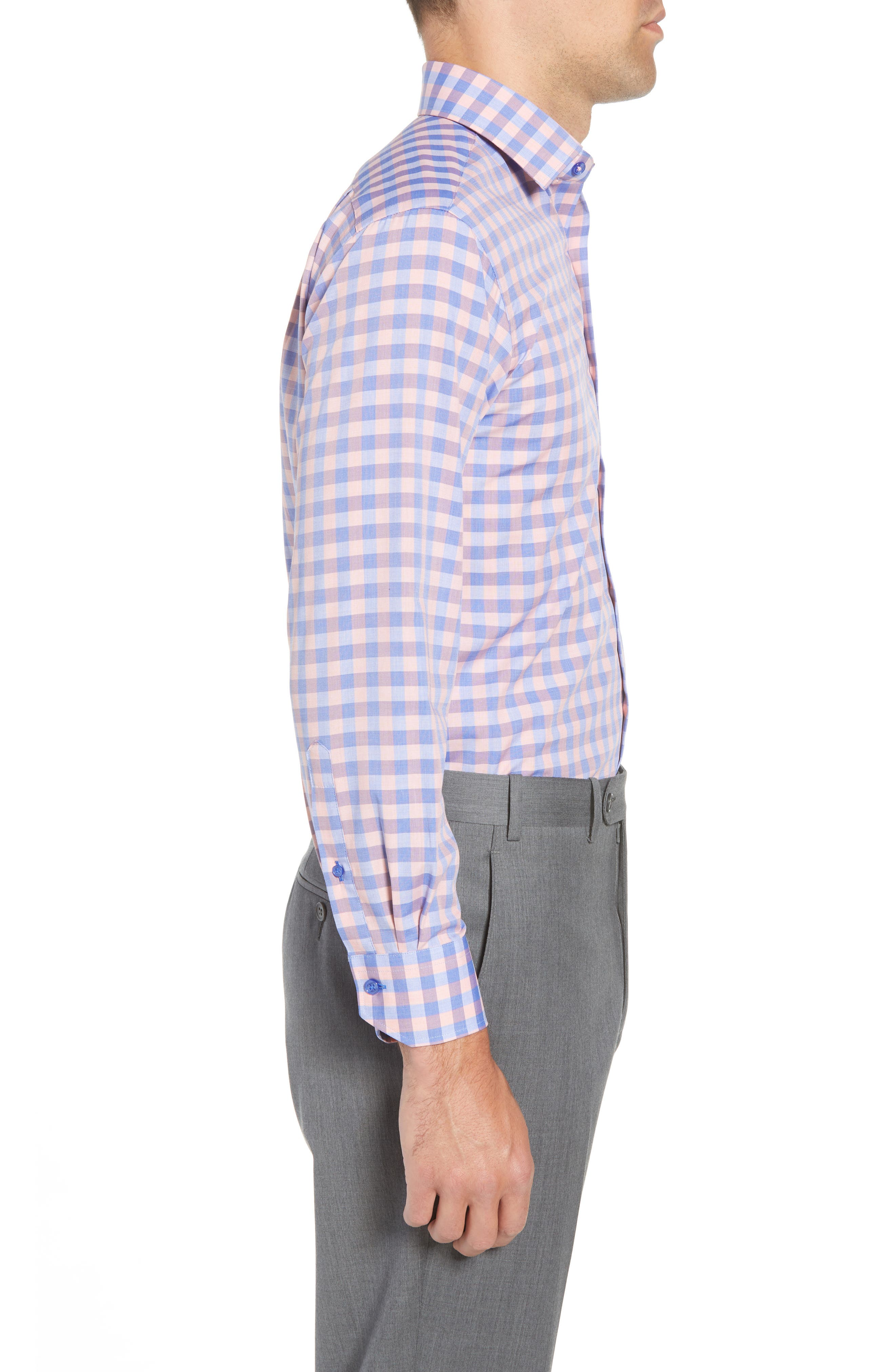 Trim Fit Check Dress Shirt,                             Alternate thumbnail 4, color,                             410