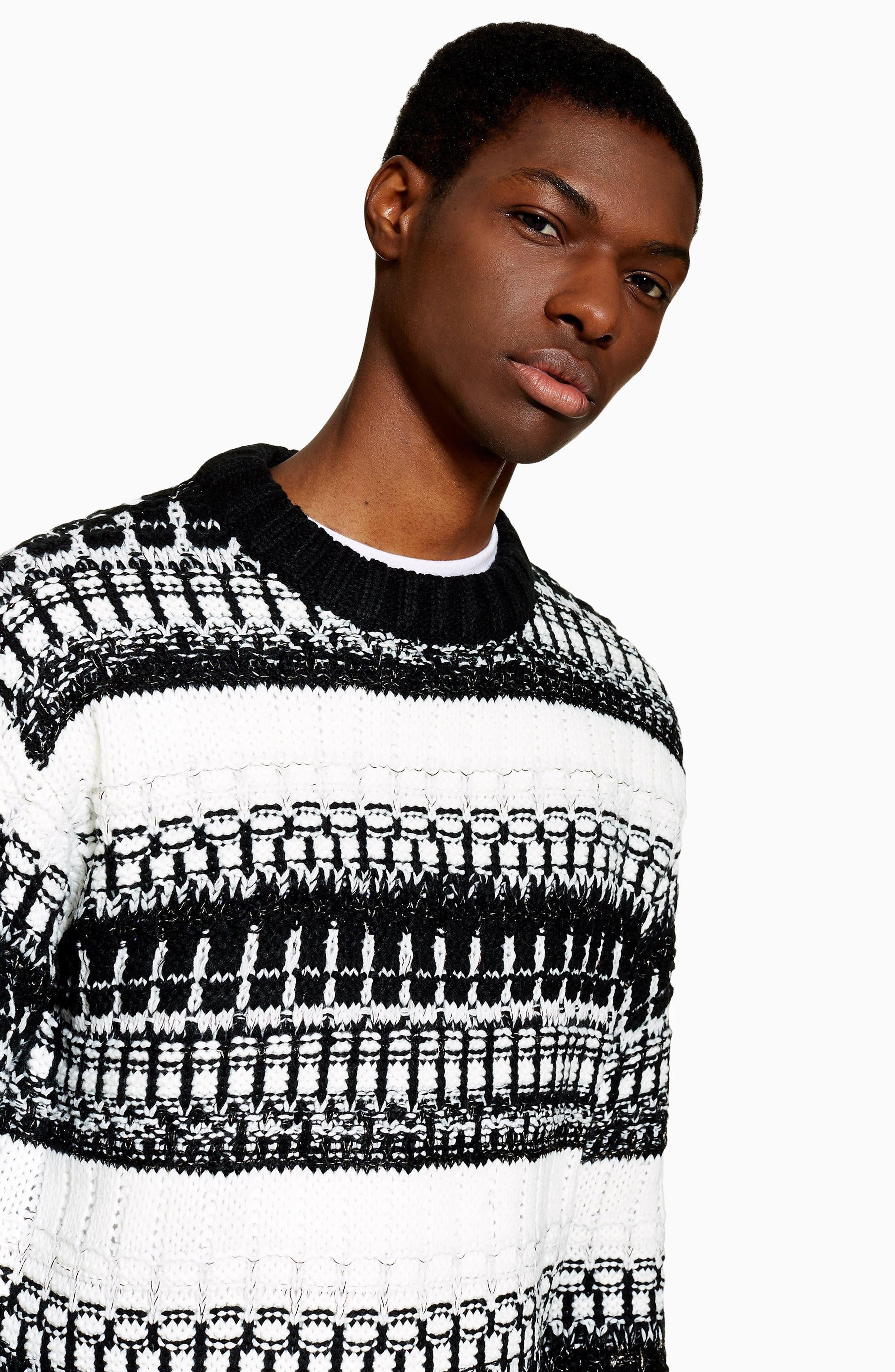 TOPMAN,                             Mono Texture Sweater,                             Alternate thumbnail 4, color,                             CREAM MULTI
