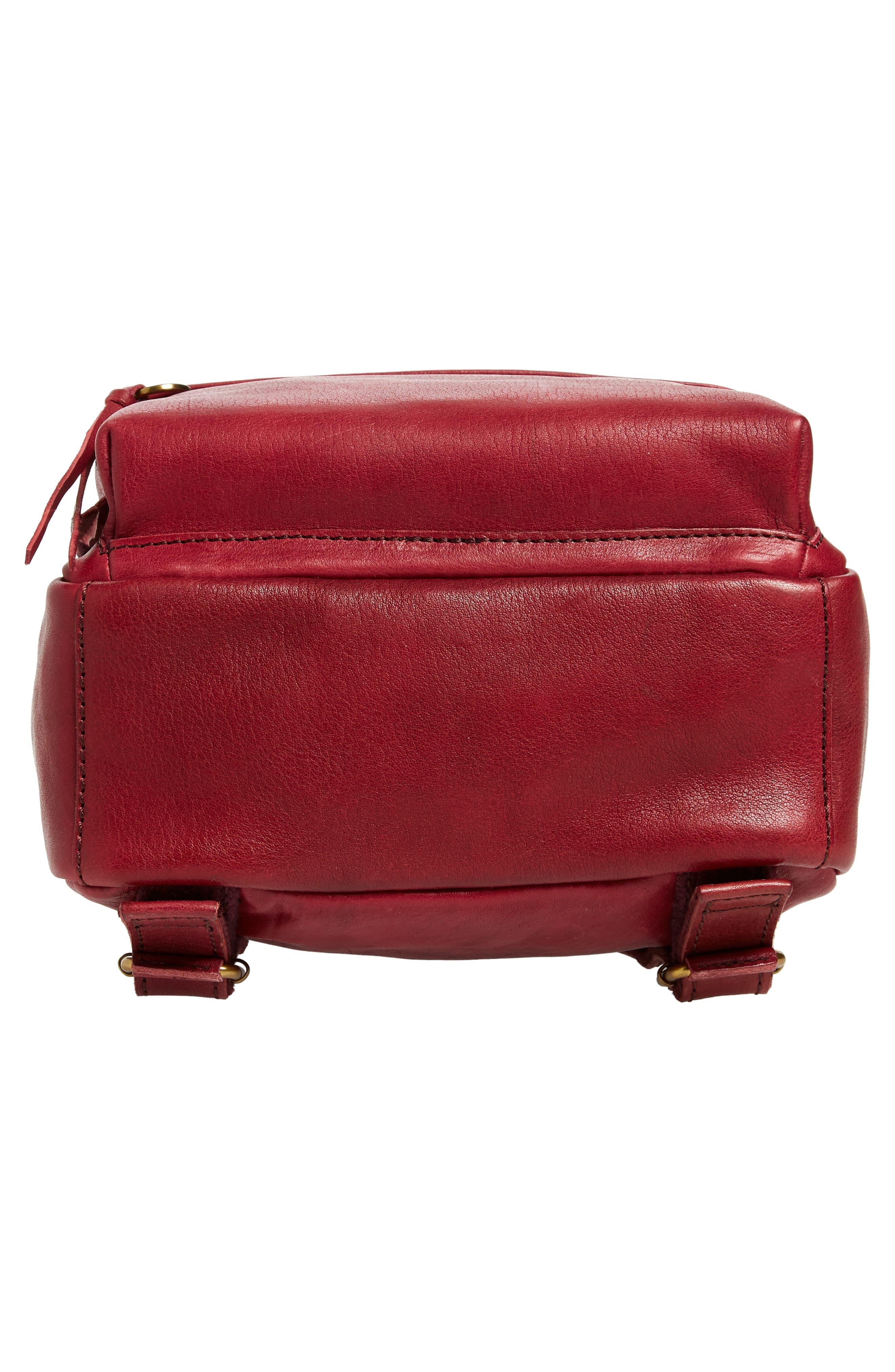 Mini Lorimer Leather Backpack,                             Alternate thumbnail 6, color,                             DARK CABERNET