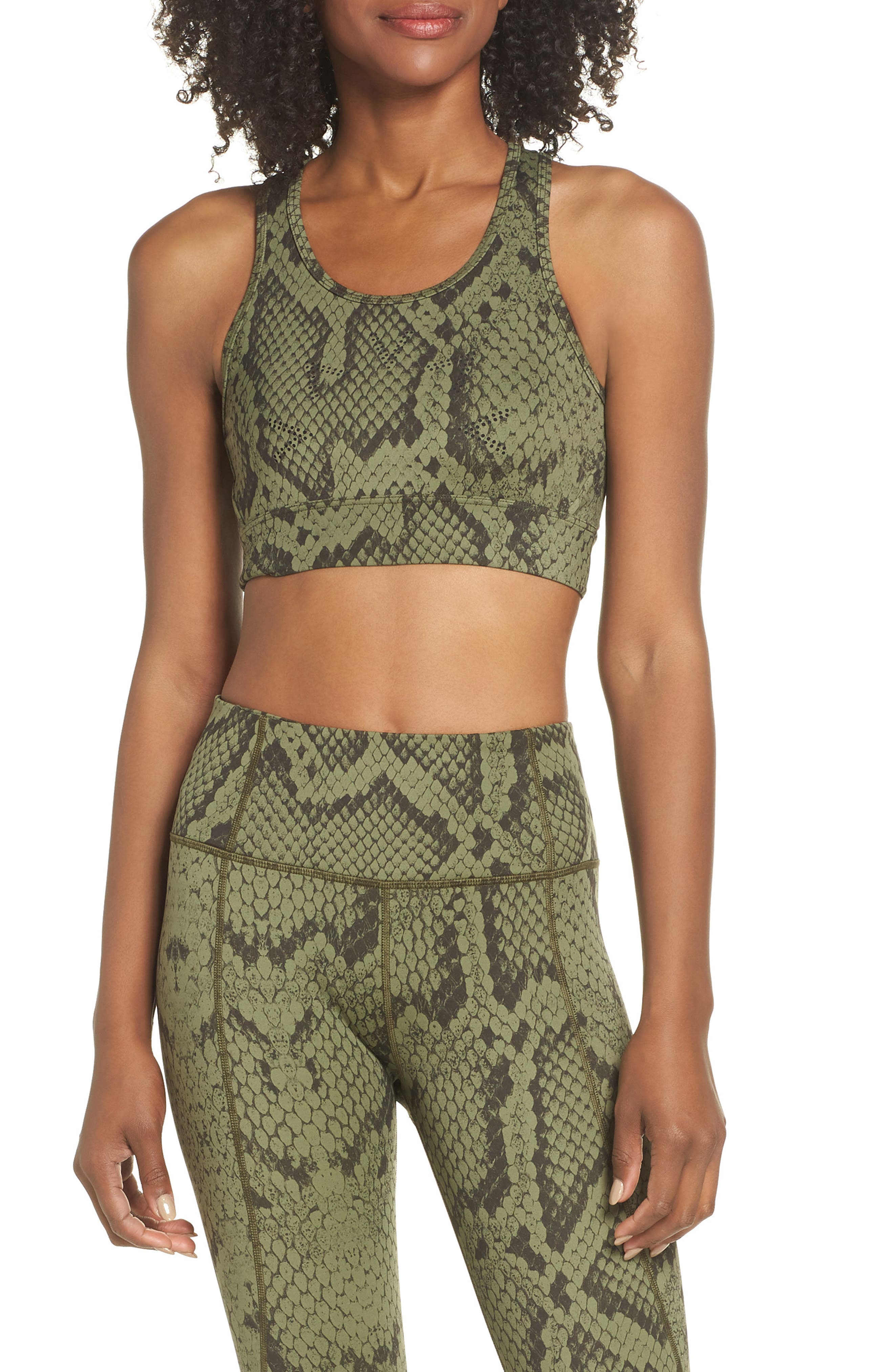 Berkeley Sports Bra,                         Main,                         color, OLIVE SNAKE