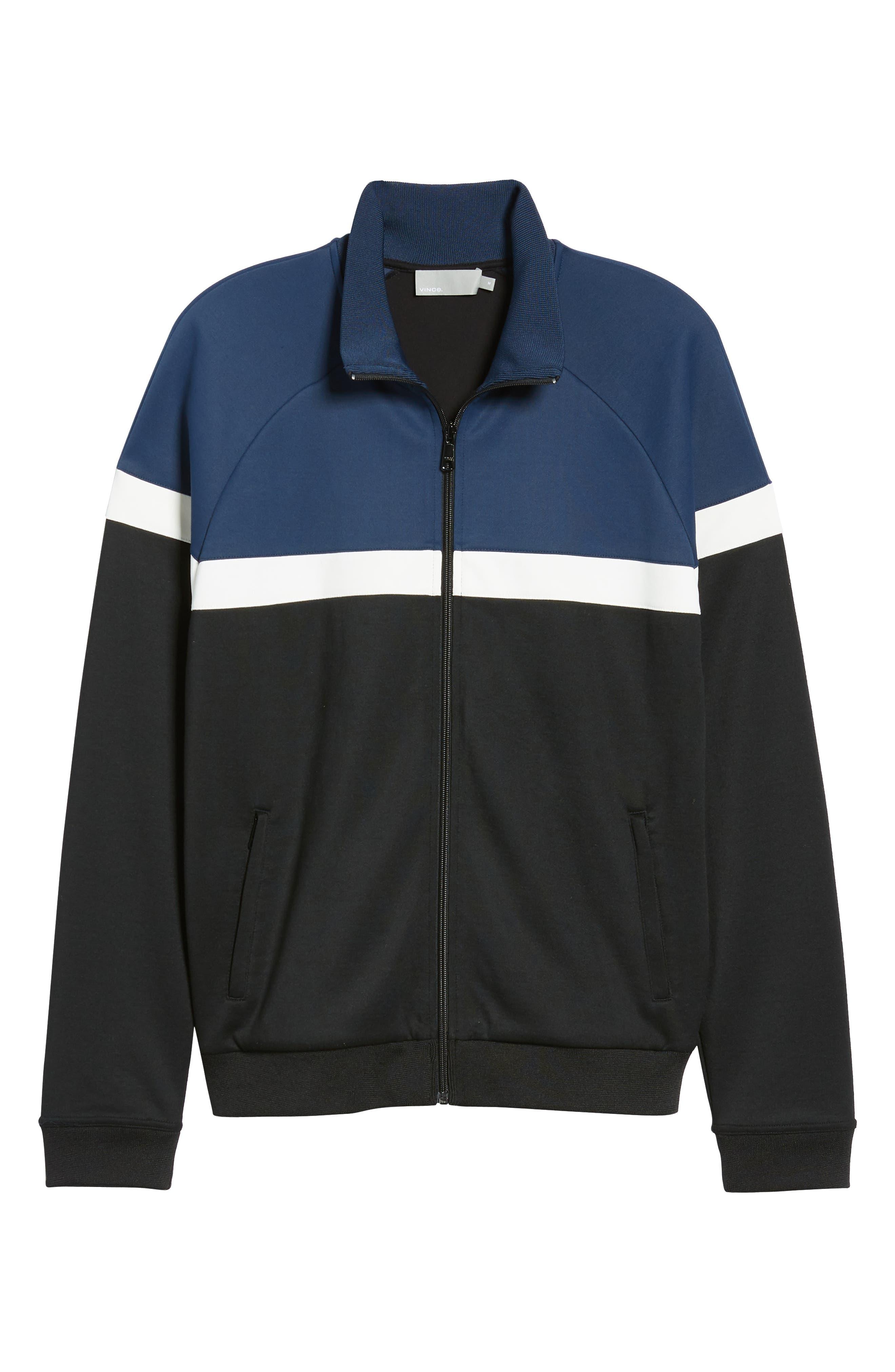Classic Fit Colorblock Track Jacket,                             Alternate thumbnail 6, color,                             BLACK/ PRUSSIAN BLUE