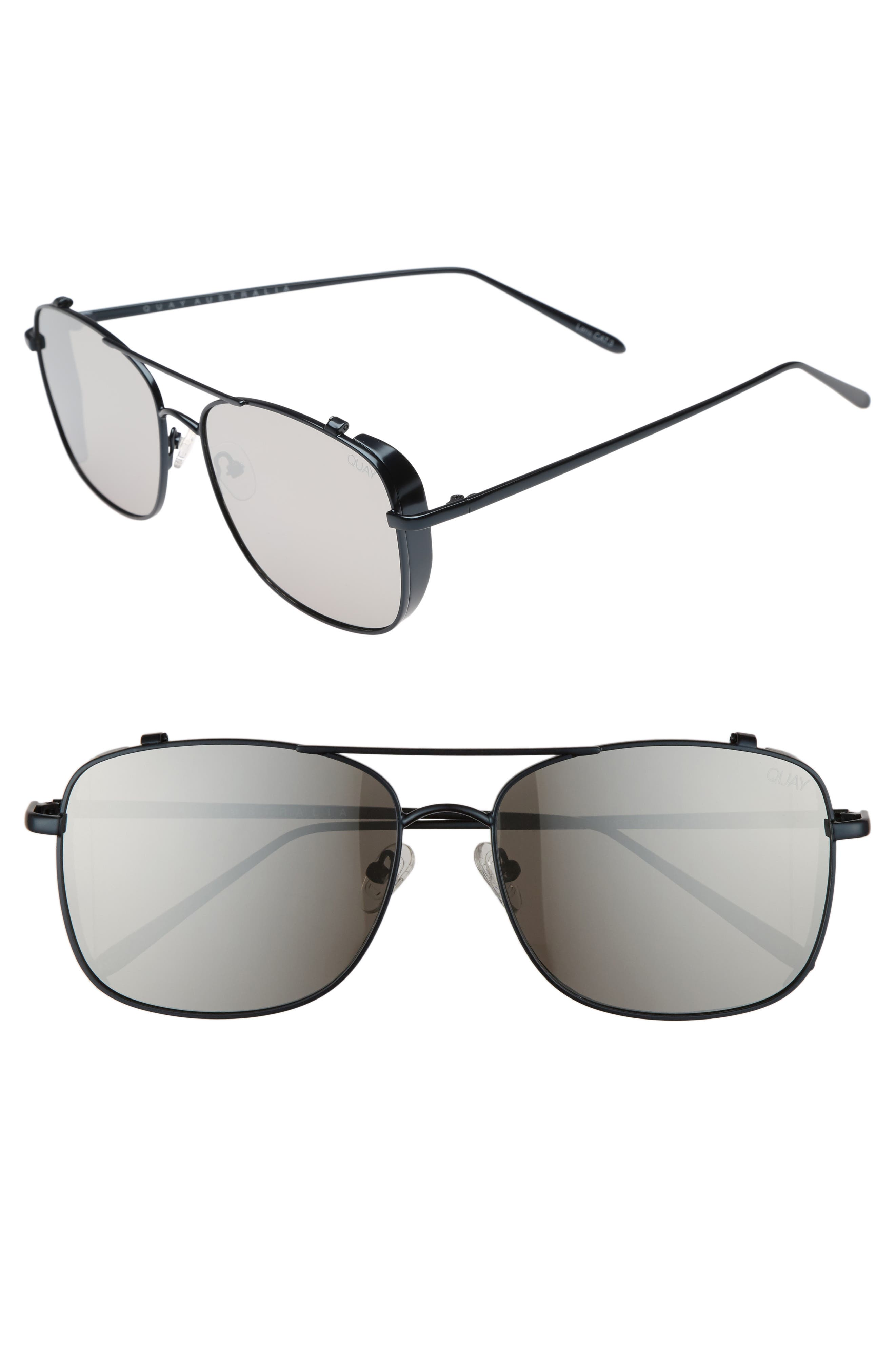 Weekend Warrior 60mm Navigator Sunglasses,                             Main thumbnail 1, color,                             NAVY/ SILVER