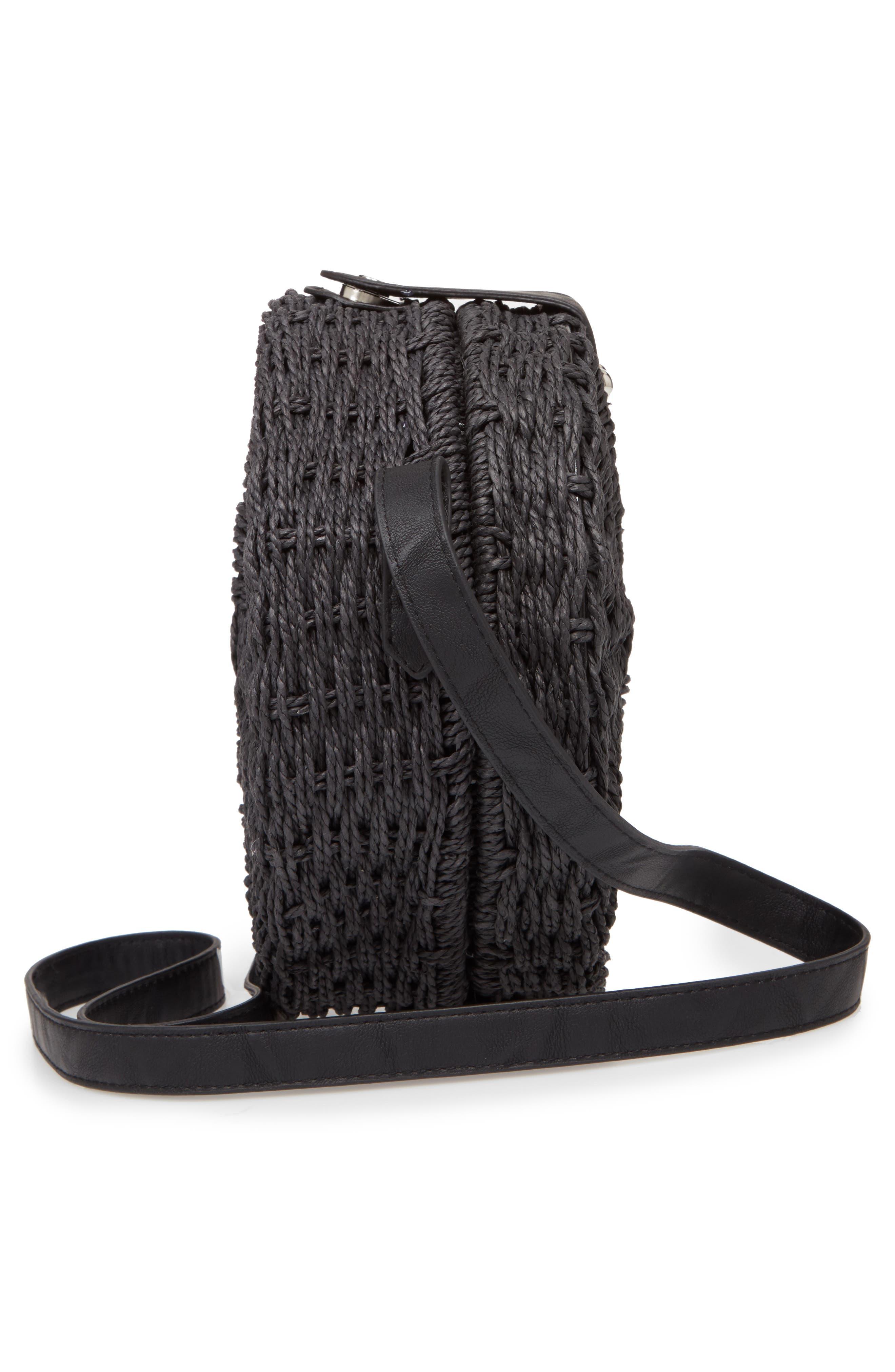 Barbar Straw Crossbody Bag,                             Alternate thumbnail 5, color,                             001