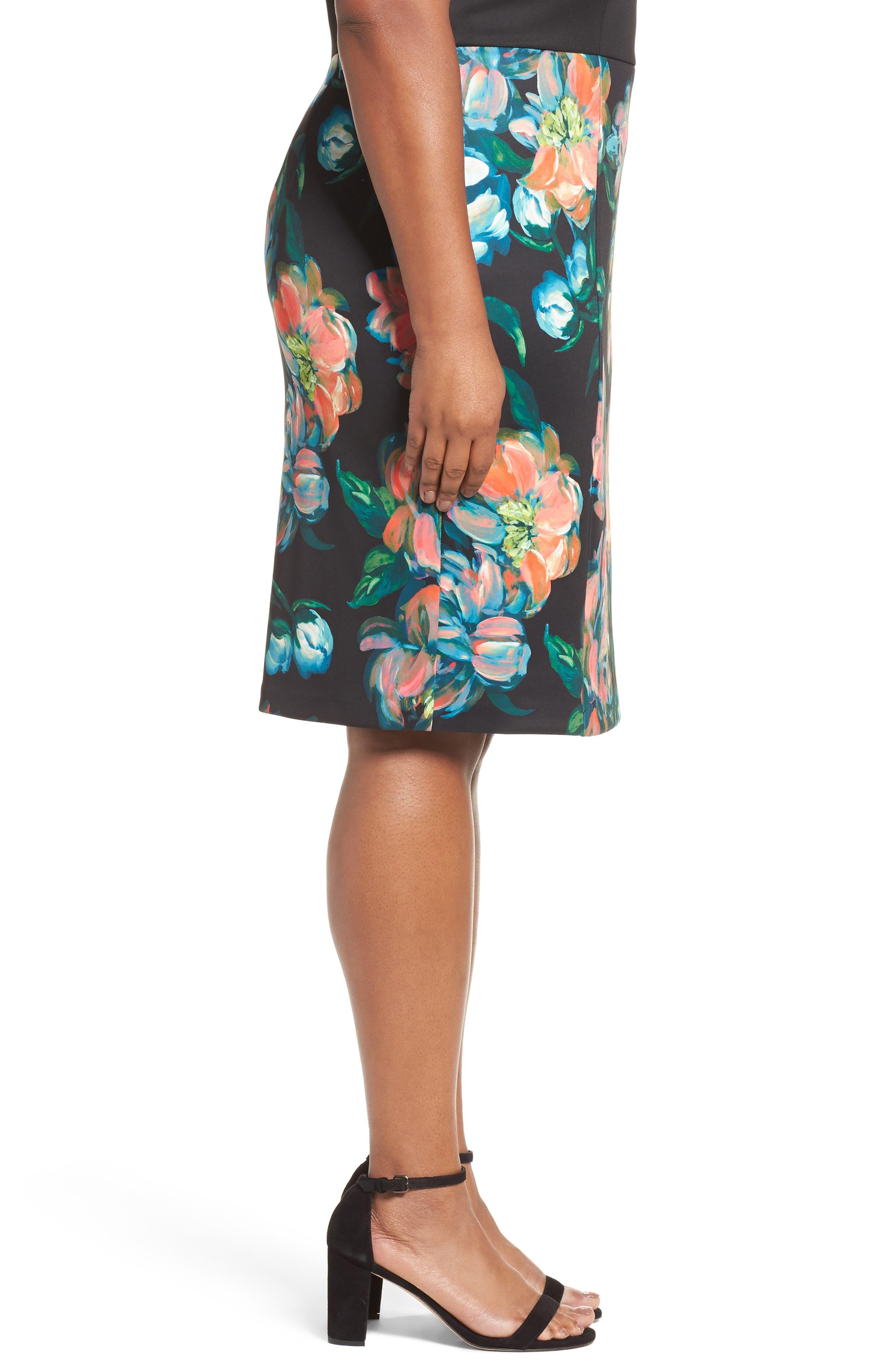 Floral Print Sheath Dress,                             Alternate thumbnail 3, color,