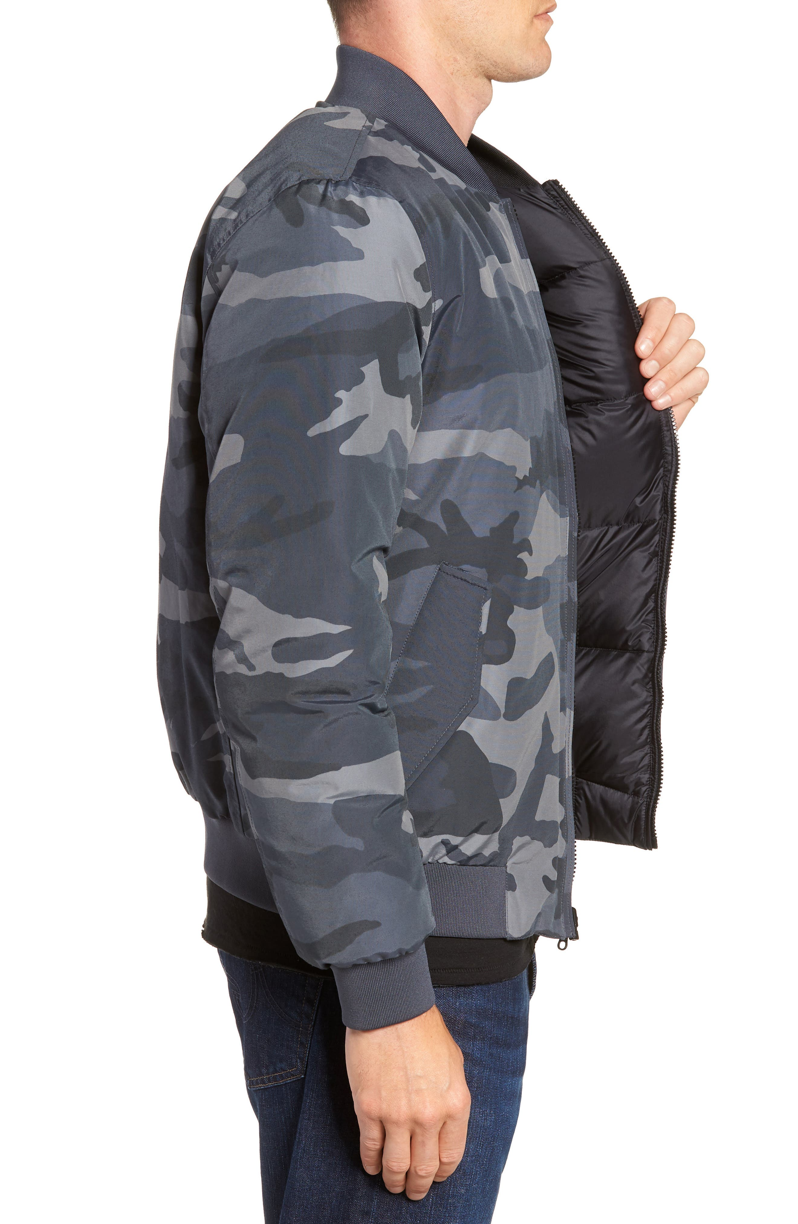 Reversible Camo Down Bomber Jacket,                             Alternate thumbnail 4, color,                             GREY CAMOU