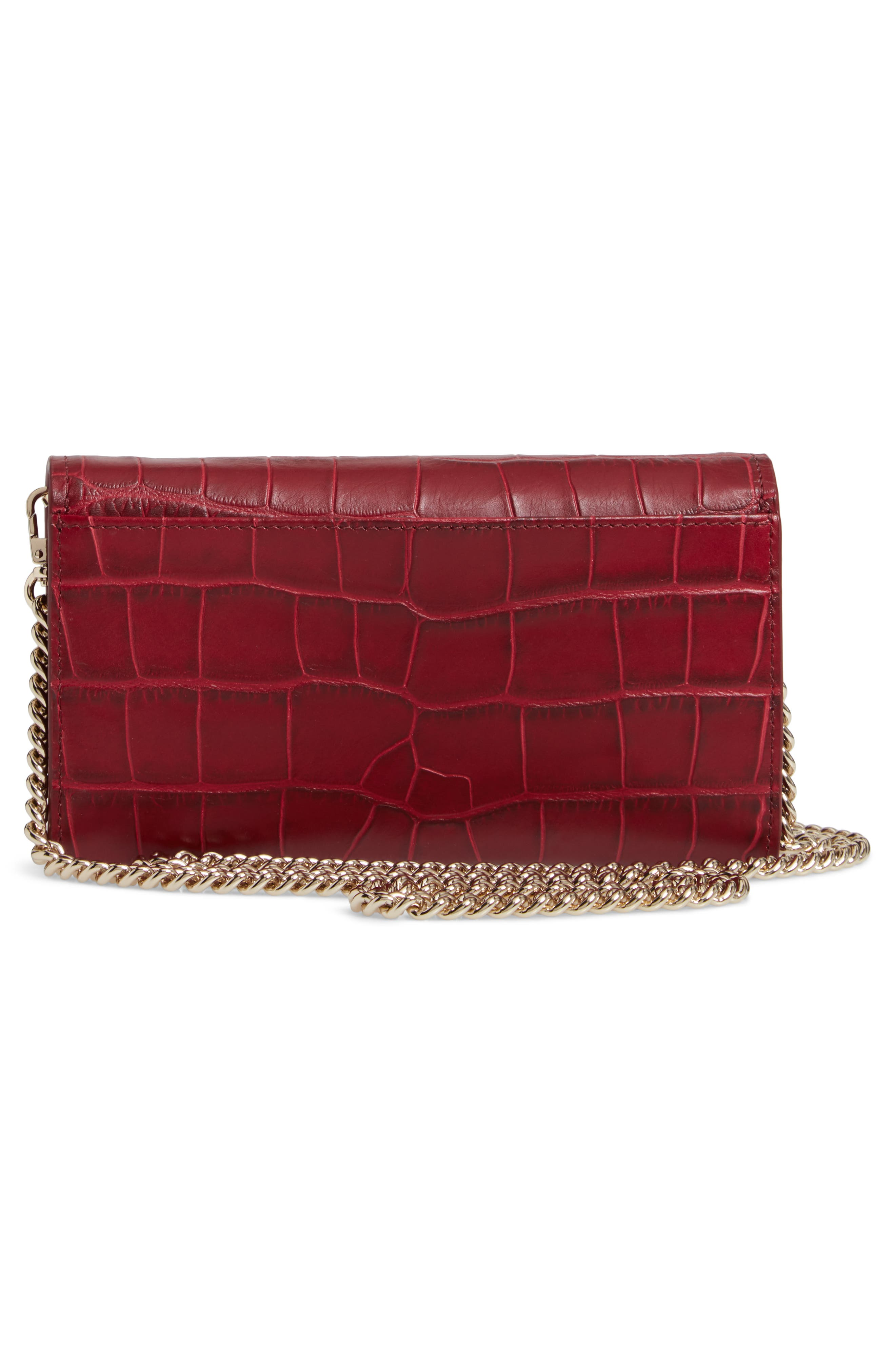 murray street luxe franny leather wallet on a chain,                             Alternate thumbnail 3, color,                             CHILI PEPPER