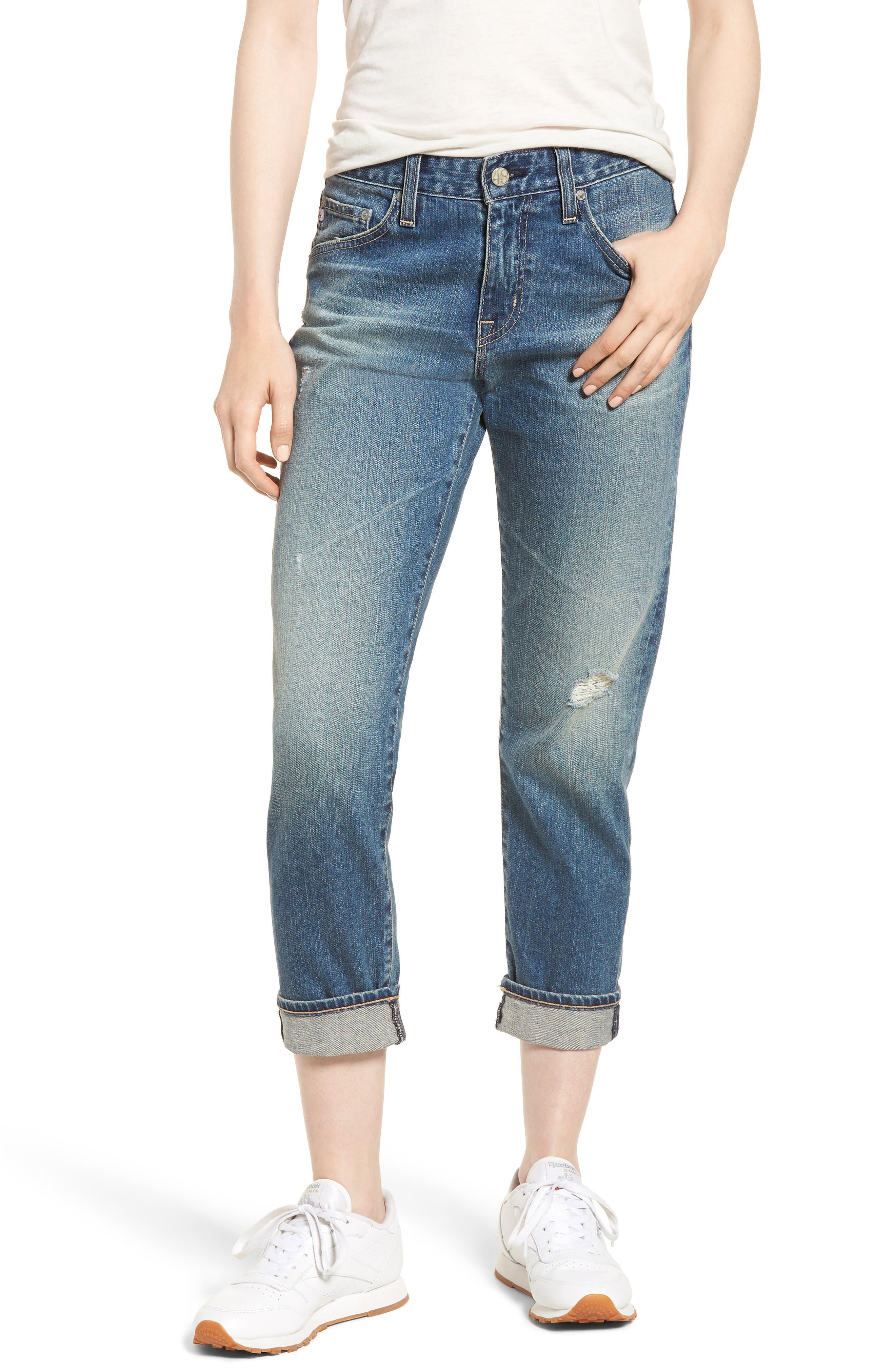 Ex-Boyfriend Mid-Rise Slim Crop Distressed Jeans in 20 Years Brilliance