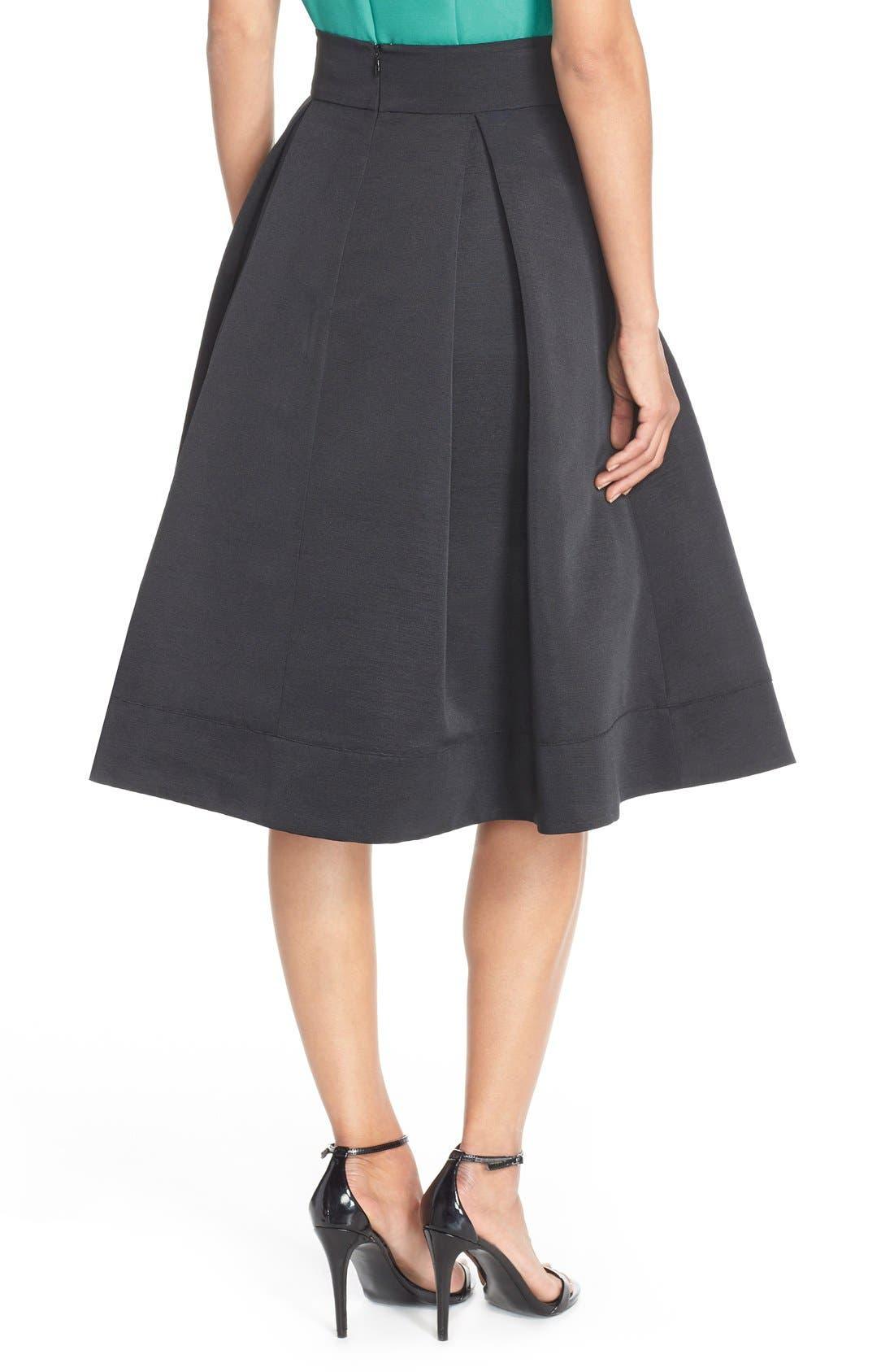 ELIZA J,                             Faille Midi Skirt,                             Alternate thumbnail 2, color,                             001