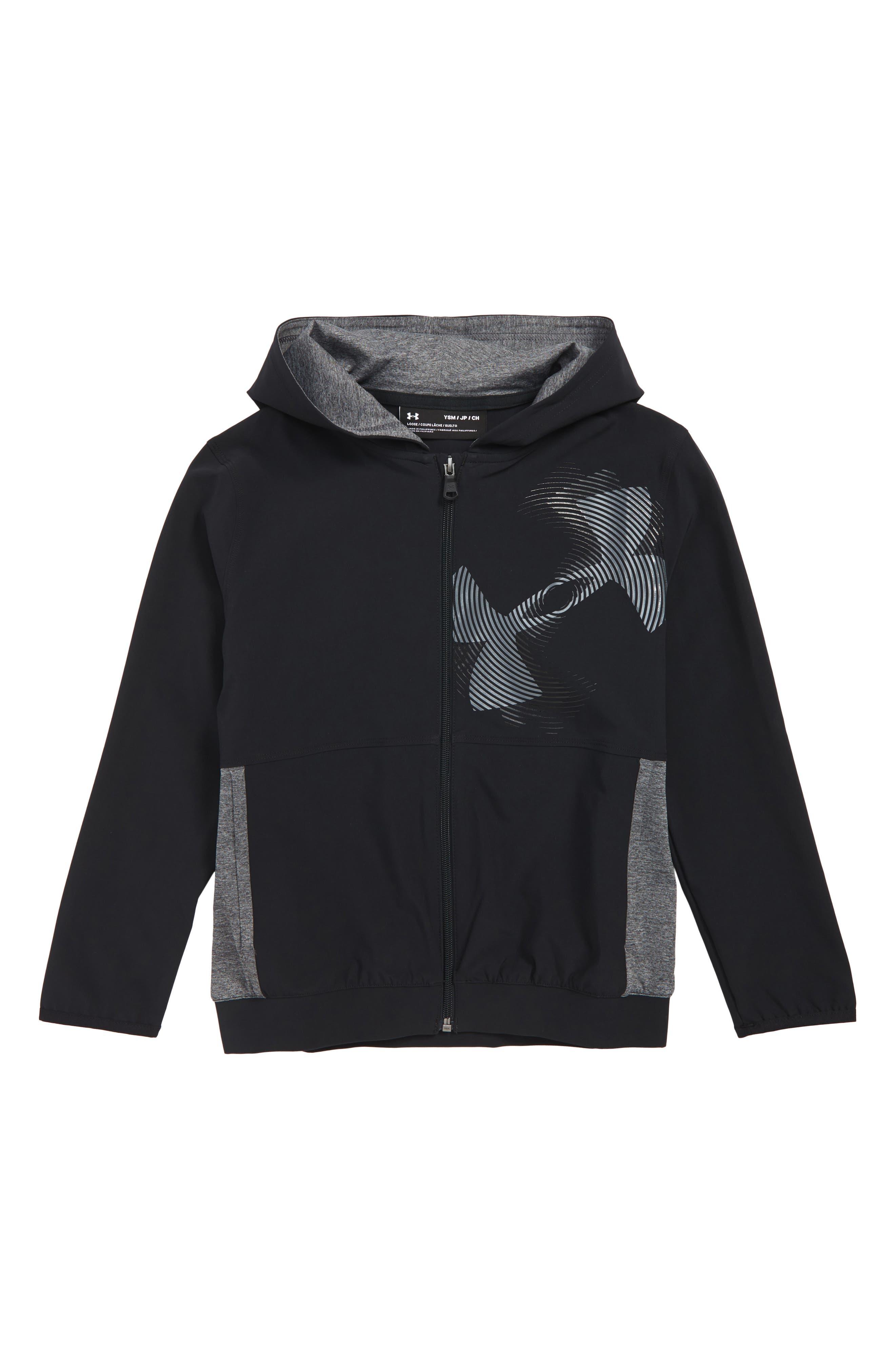 Woven Hooded Warm-Up Jacket,                             Main thumbnail 1, color,                             BLACK / BLACK