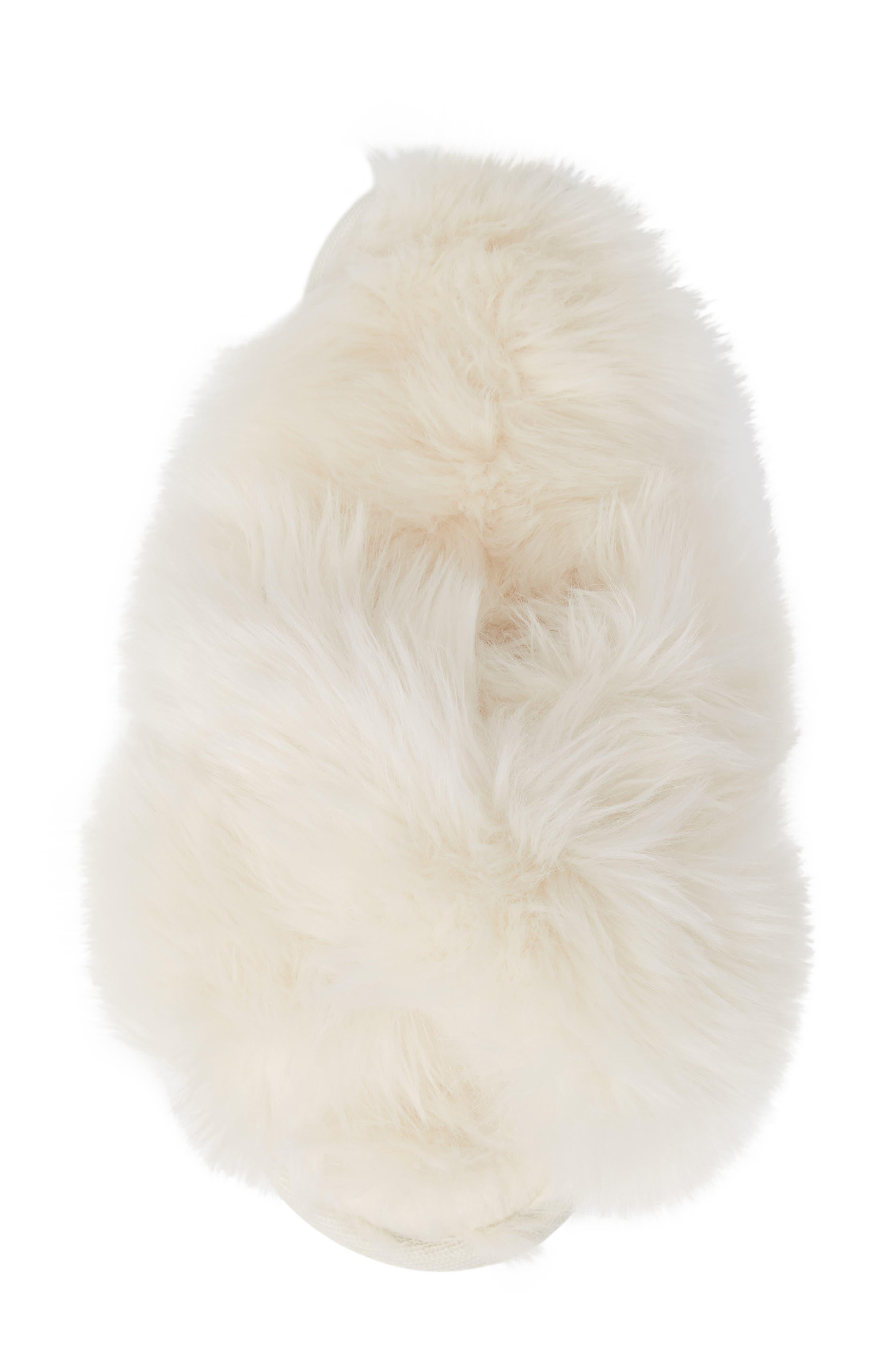 Cuddle Plush Faux Fur Scuff Slipper,                             Alternate thumbnail 5, color,                             IVORY