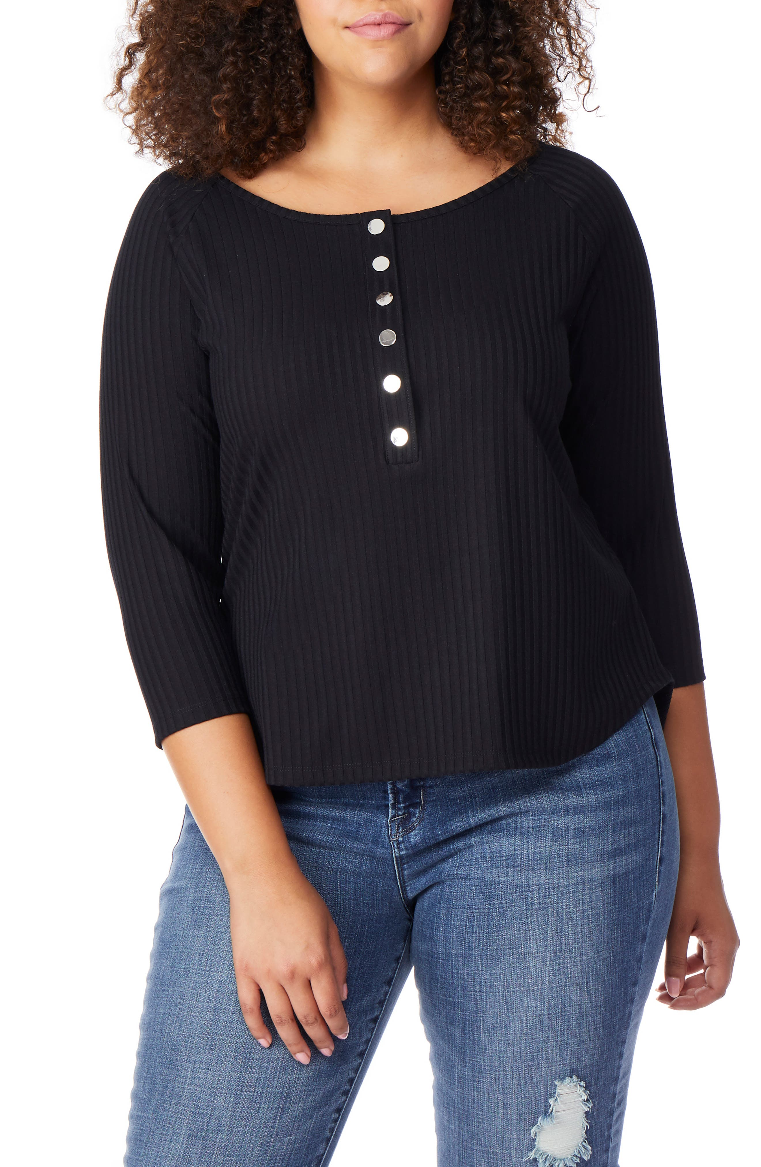 Rib Knit Henley Top,                         Main,                         color, BLACK