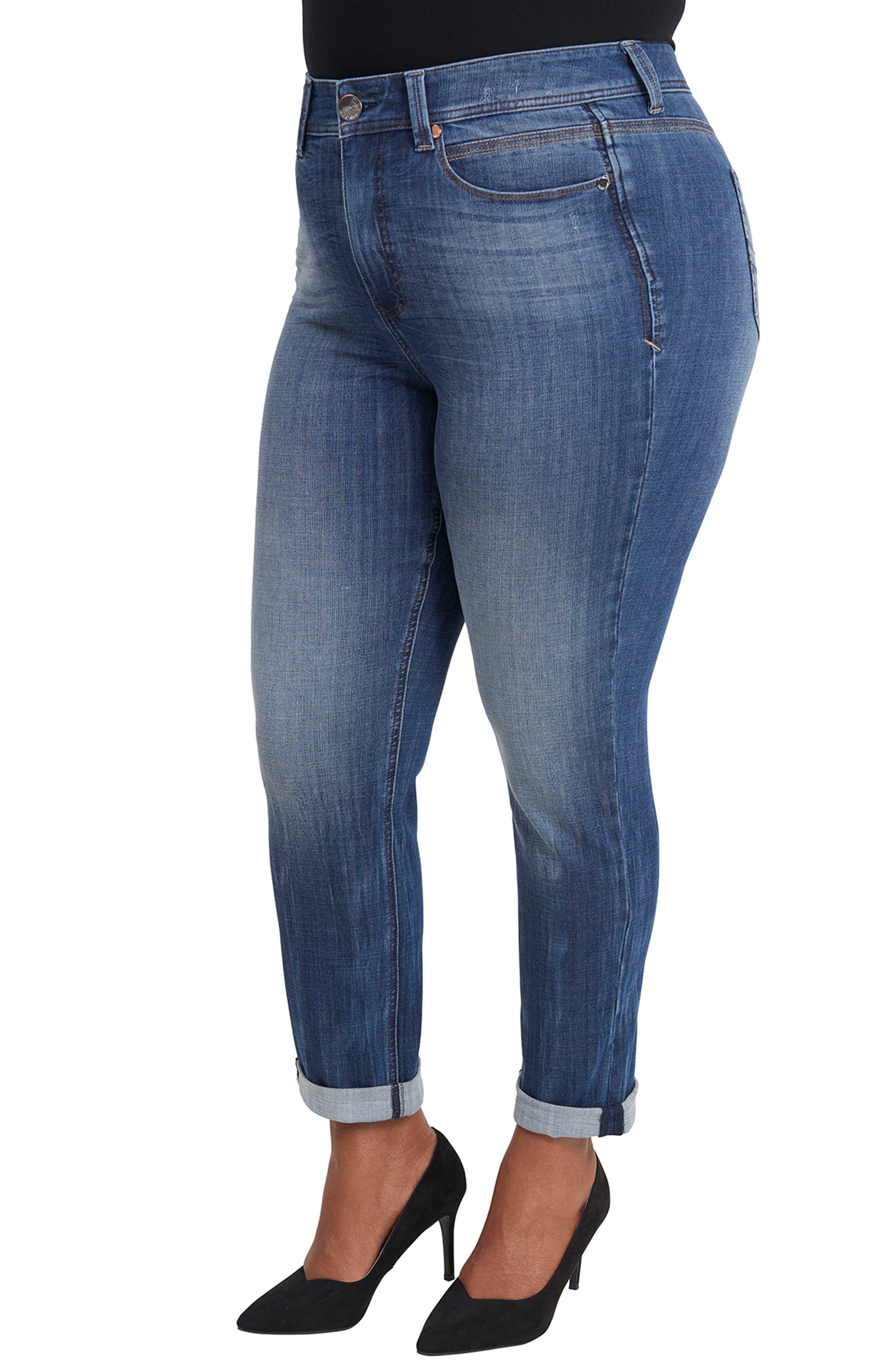 Tummyless Roll Cuff Slim Fit Jeans,                             Alternate thumbnail 3, color,                             JEANNE
