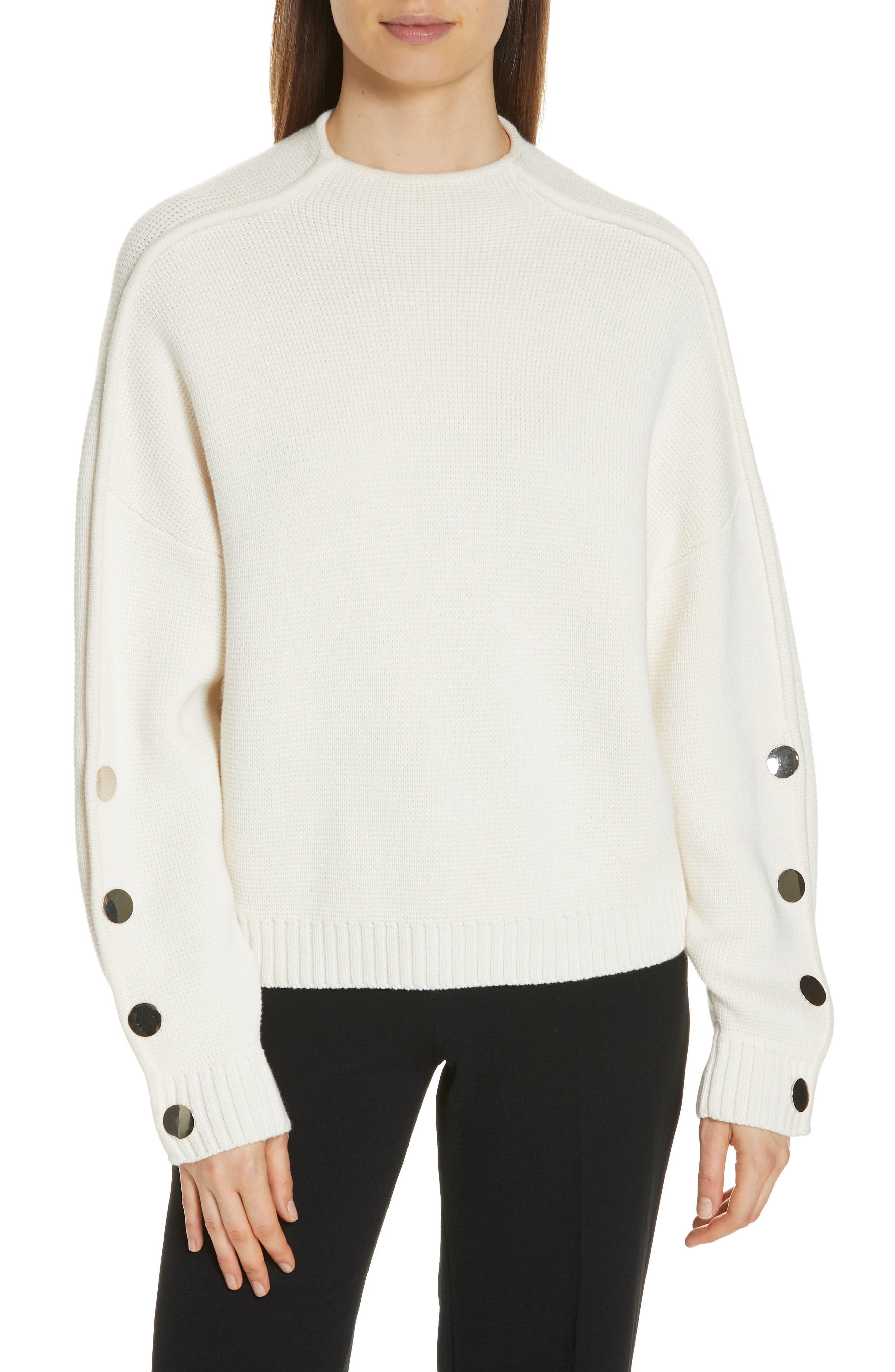 Ba & sh Astana Button Sleeve Waffle Weave Cotton Wool Sweater, Ivory