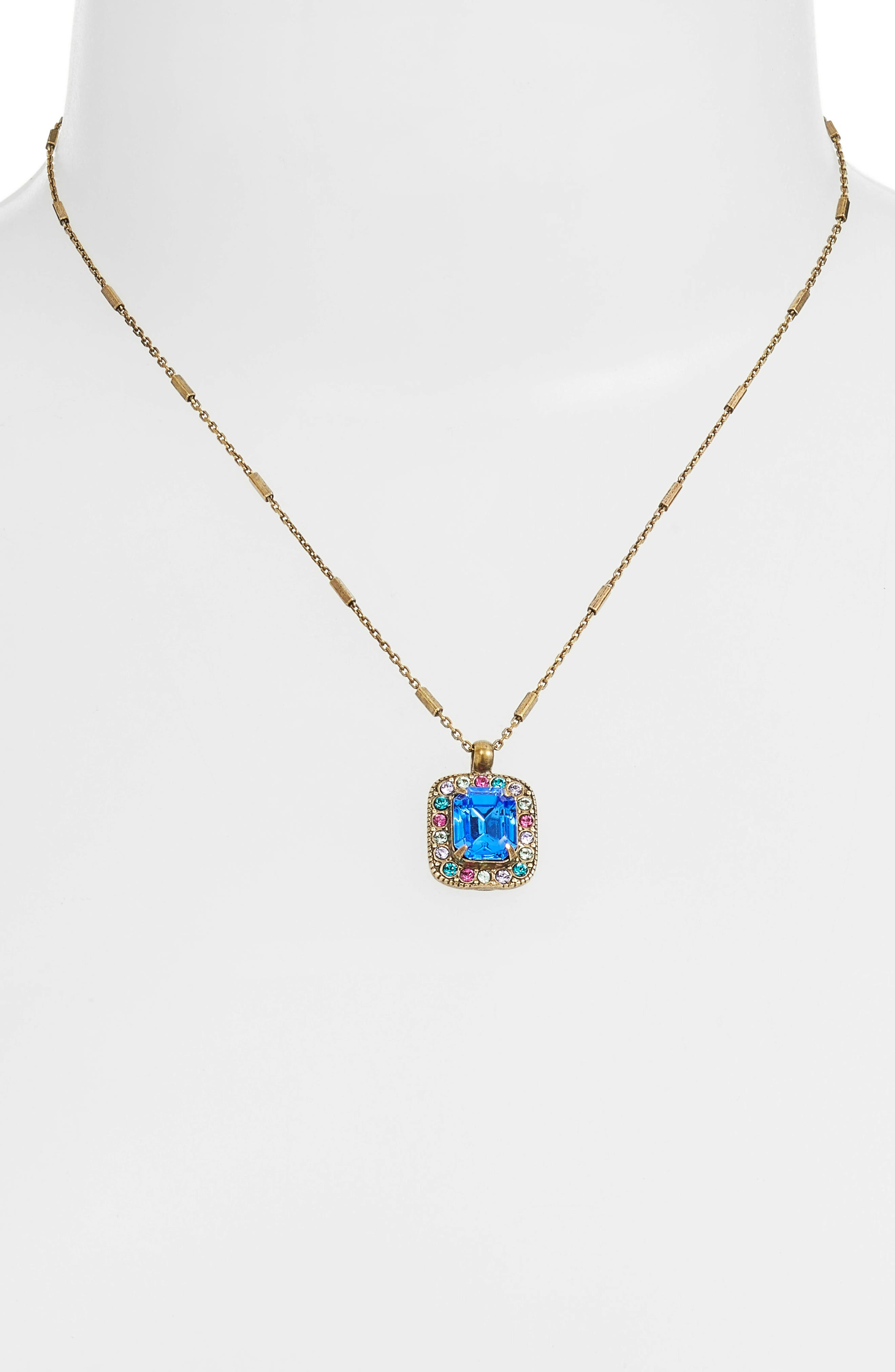 Opulent Octagon Crystal Pendant Necklace,                             Alternate thumbnail 2, color,                             710
