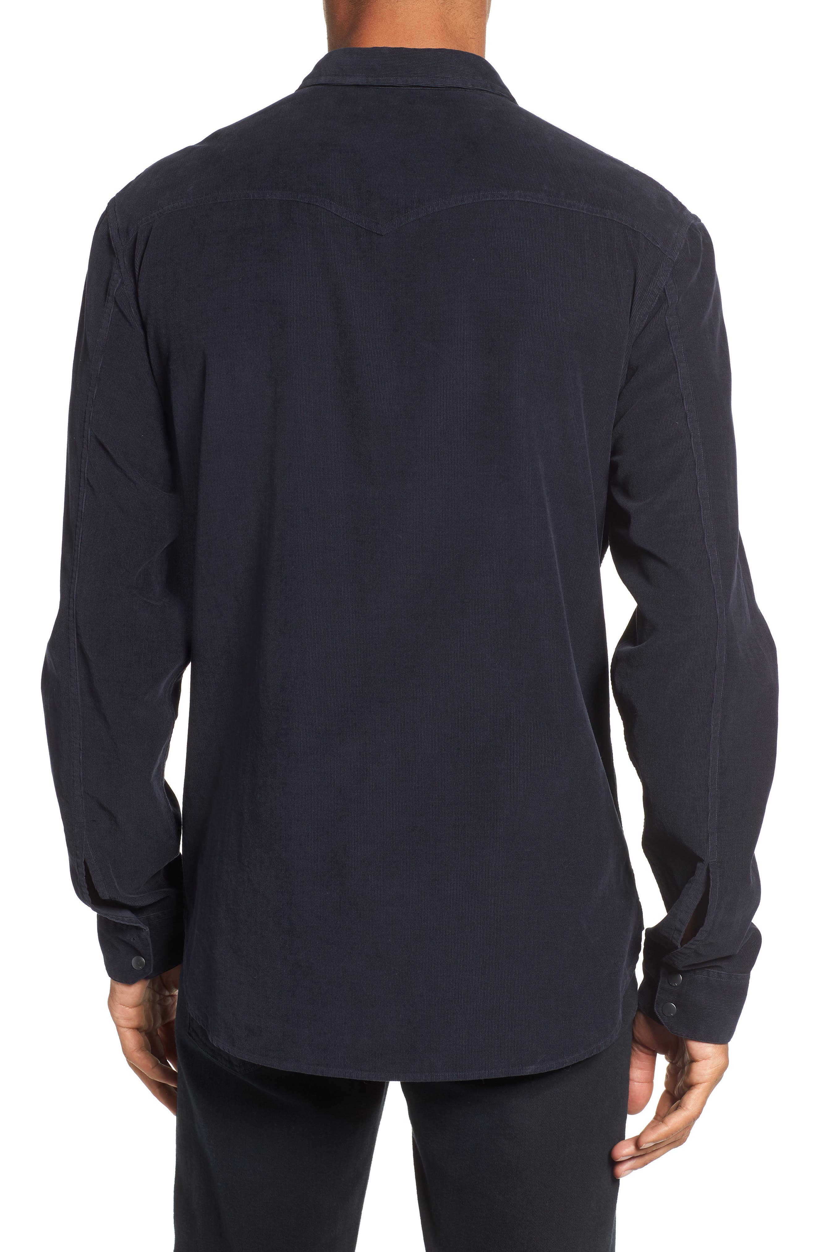 Corduroy Shirt,                             Alternate thumbnail 3, color,                             MIDNIGHT