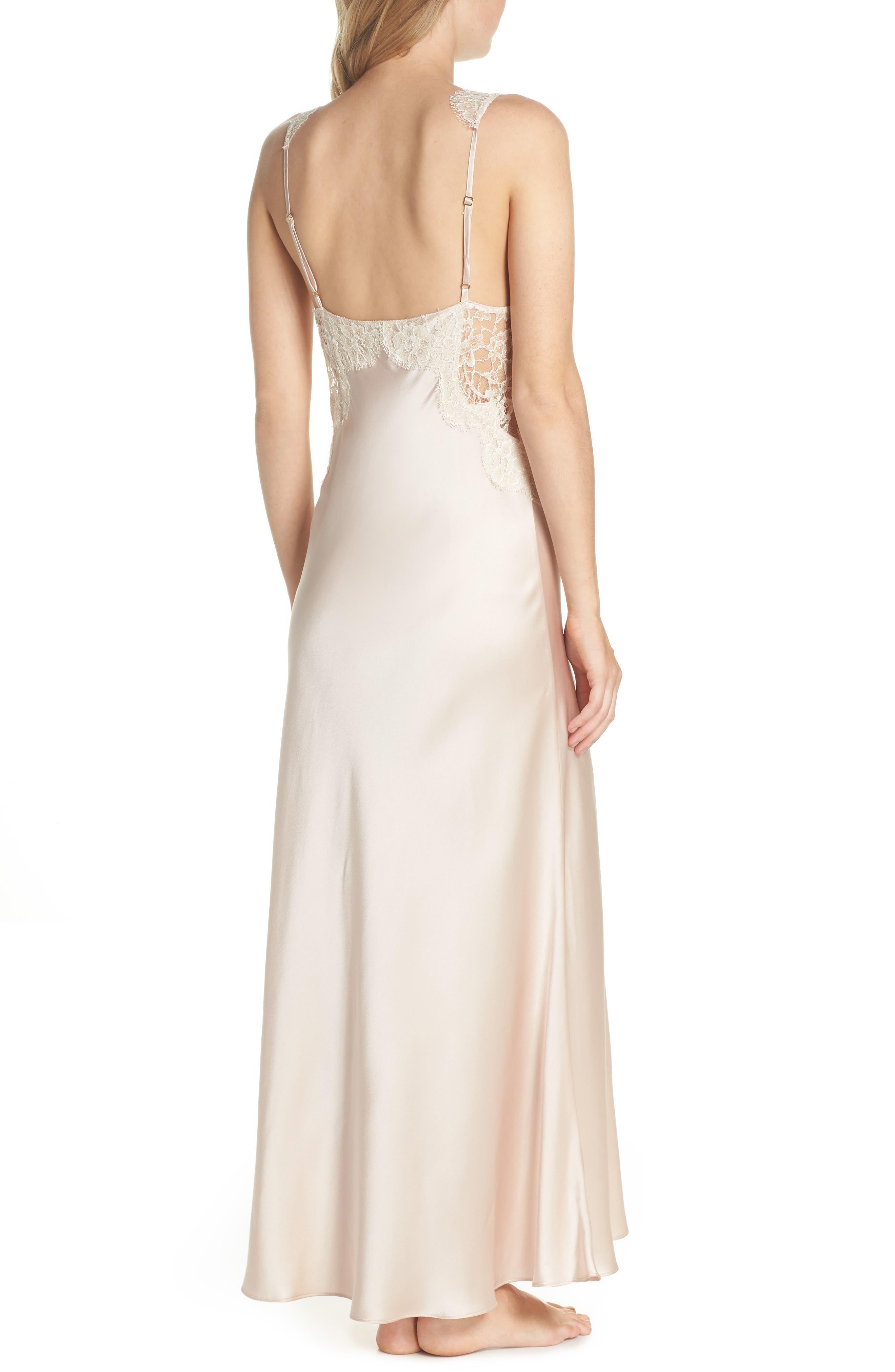 Lace Trim Silk Nightgown,                             Alternate thumbnail 2, color,                             650